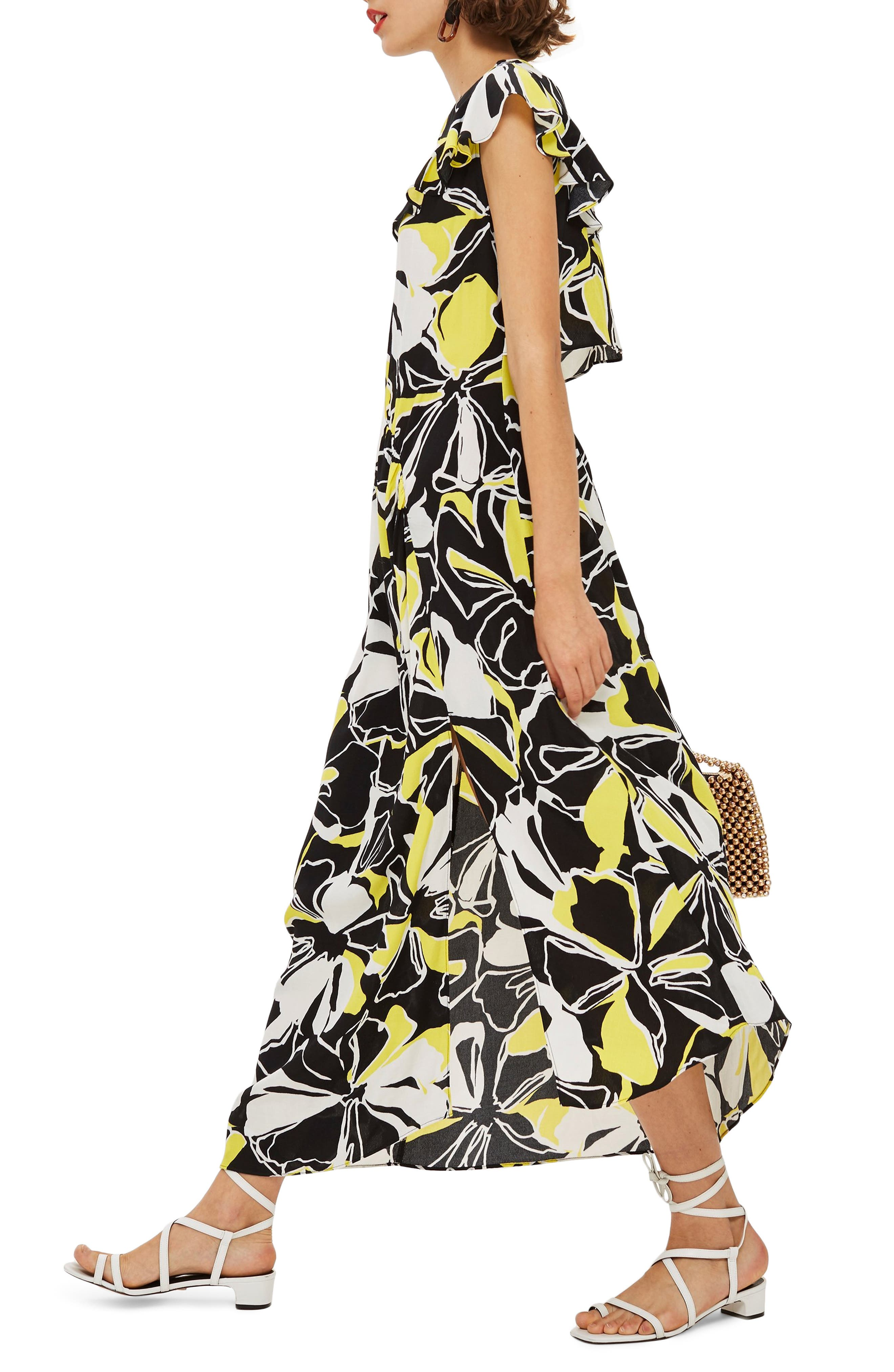 Deconstructed Floral Print Maxi Dress,                             Alternate thumbnail 3, color,                             BLACK MULTI