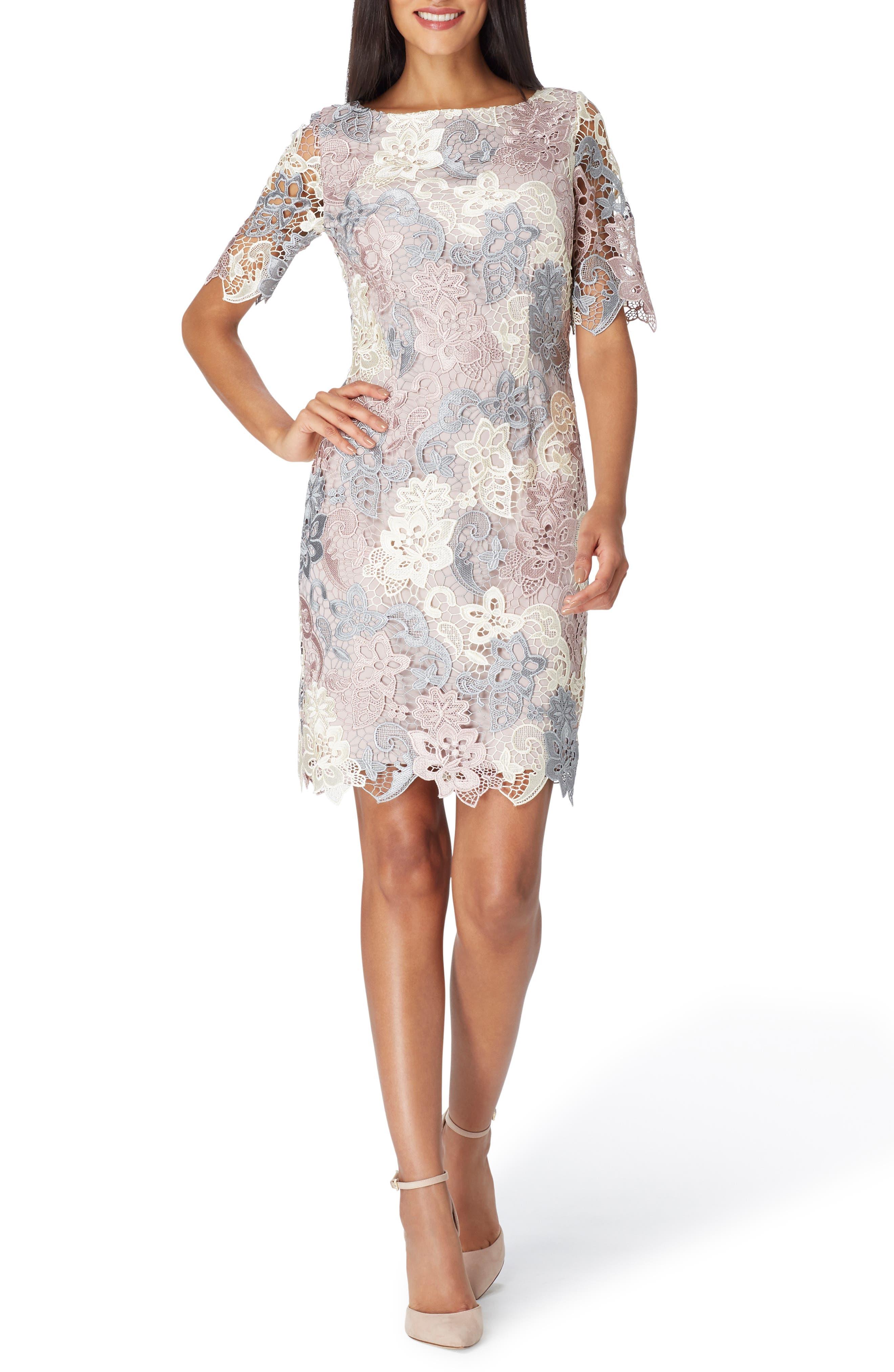 Three-Quarter Sleeve Lace Sheath Dress,                         Main,                         color, CREAM/ GREY/ PETAL