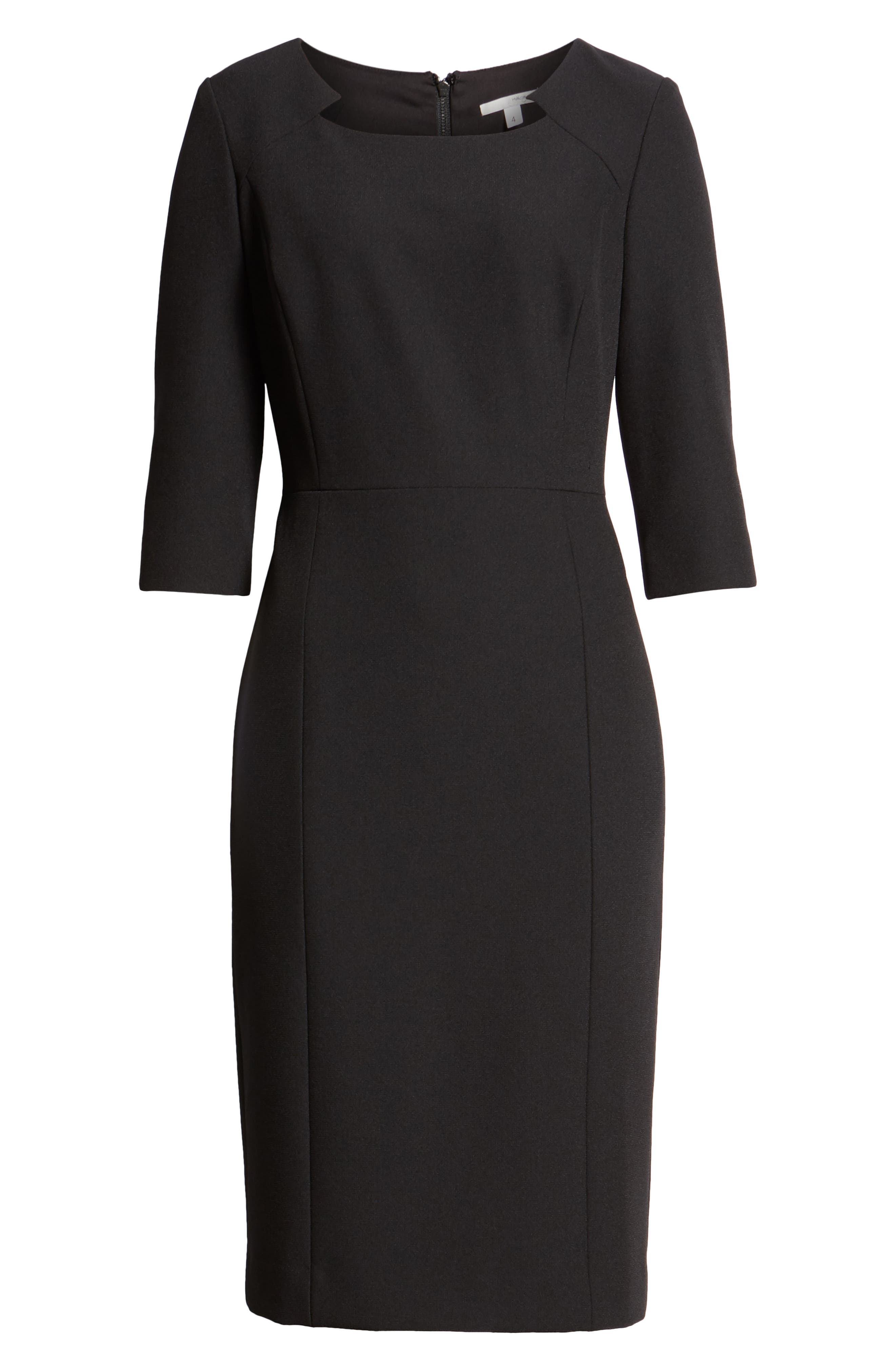 HALOGEN<SUP>®</SUP>,                             Textured Stretch Sheath Dress,                             Alternate thumbnail 7, color,                             001