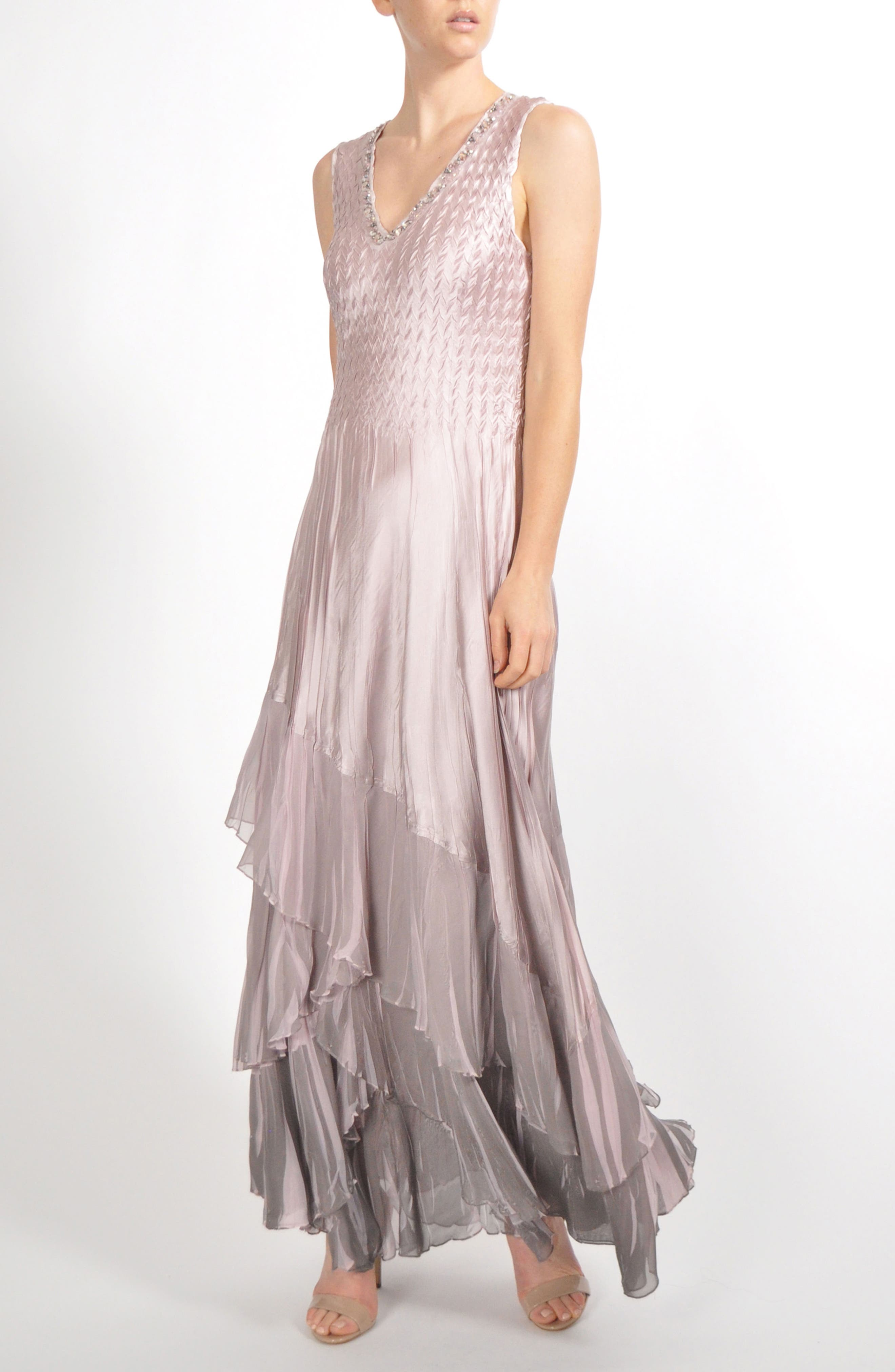 Beaded Charmeuse & Chiffon Gown with Wrap,                             Alternate thumbnail 4, color,                             020