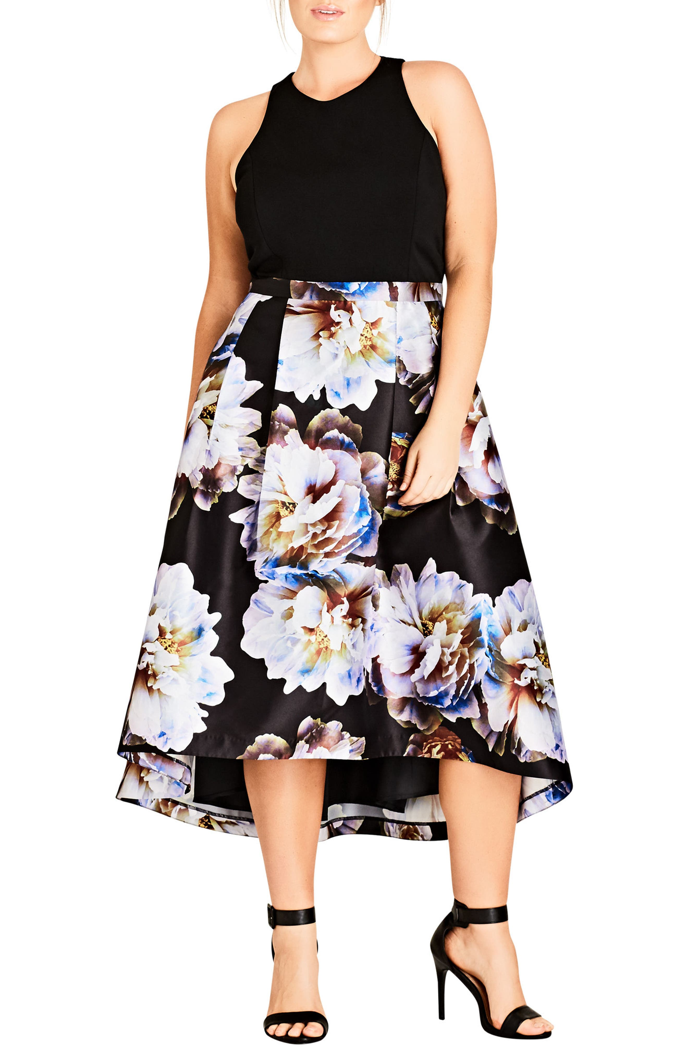 Moonlite High/low Midi Dress,                             Main thumbnail 1, color,                             MOONLIGHT