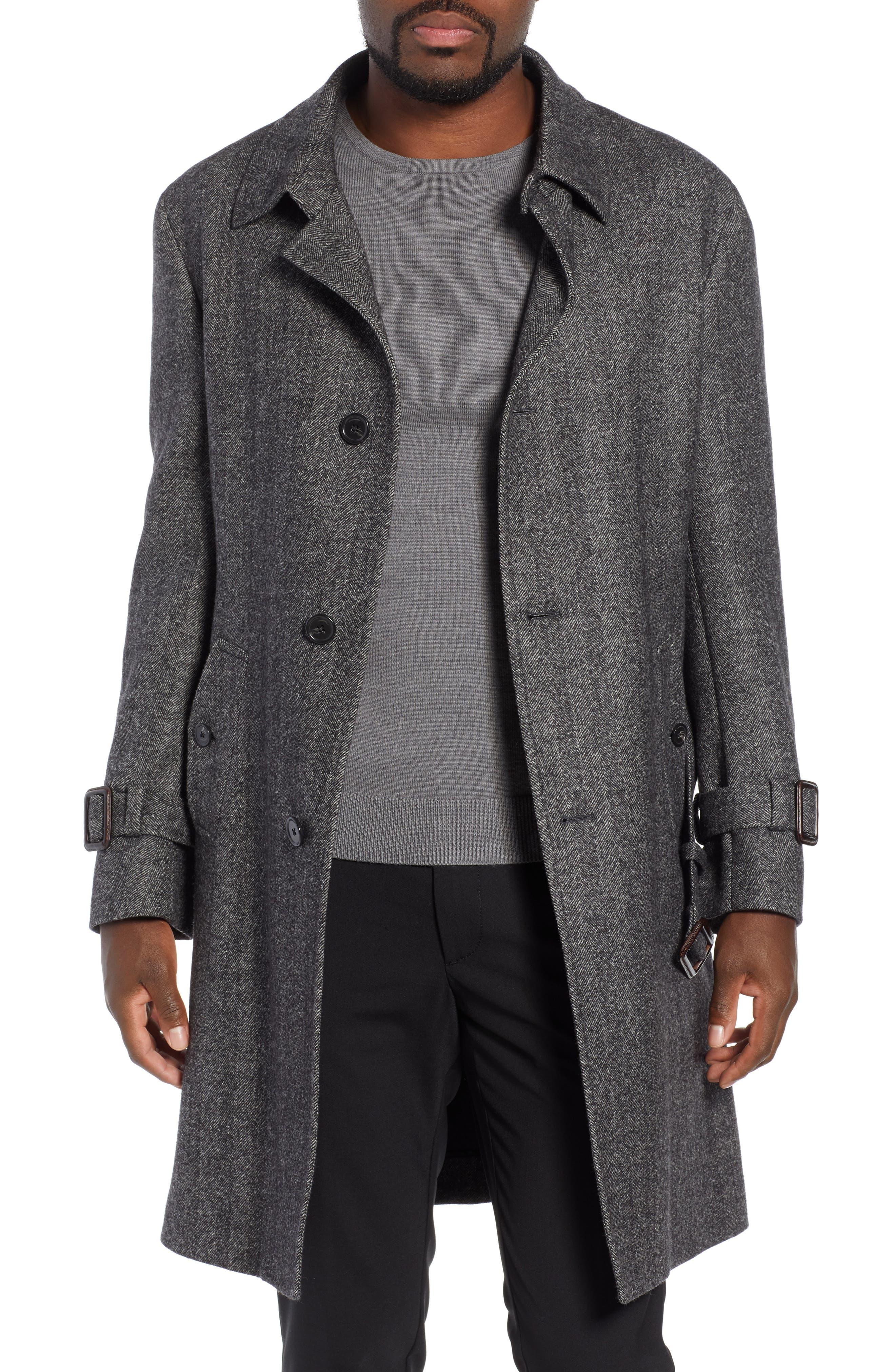 Zelander Herringbone Wool Blend Coat,                             Main thumbnail 1, color,                             GREY