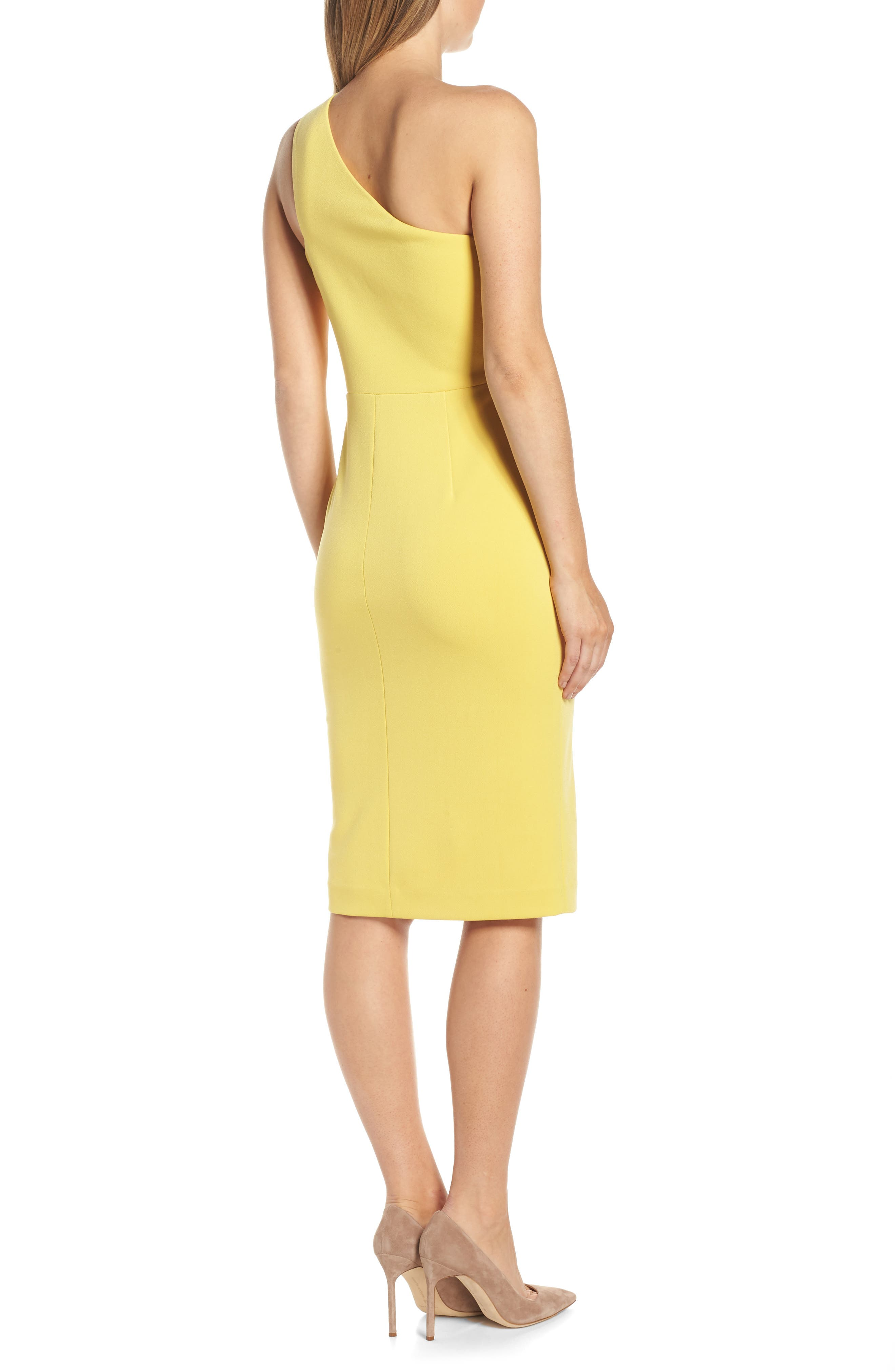 One-Shoulder Sheath Dress,                             Alternate thumbnail 2, color,                             YELLOW