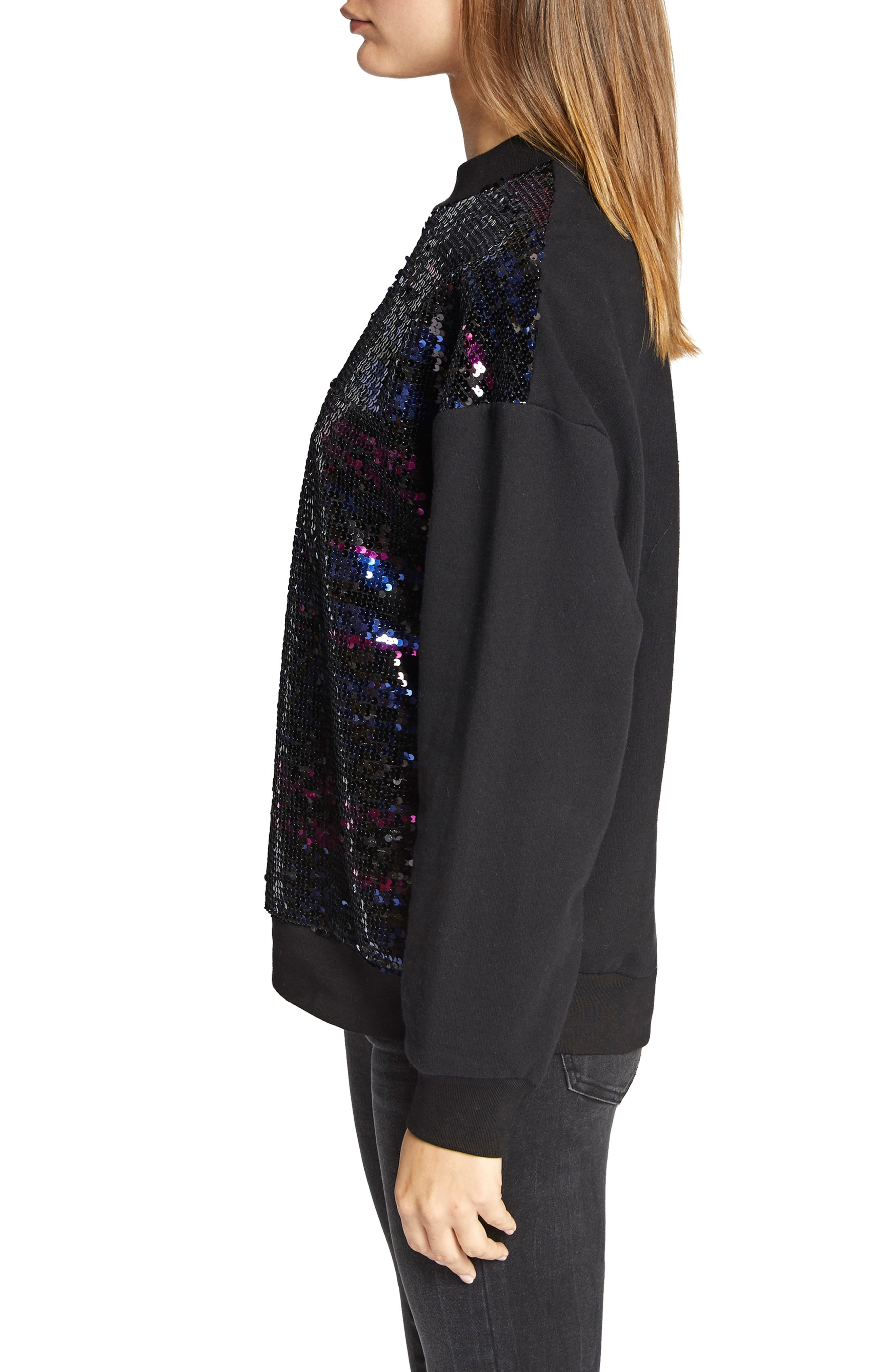 Last Dance Sequin Sweatshirt,                             Alternate thumbnail 3, color,                             BLACK