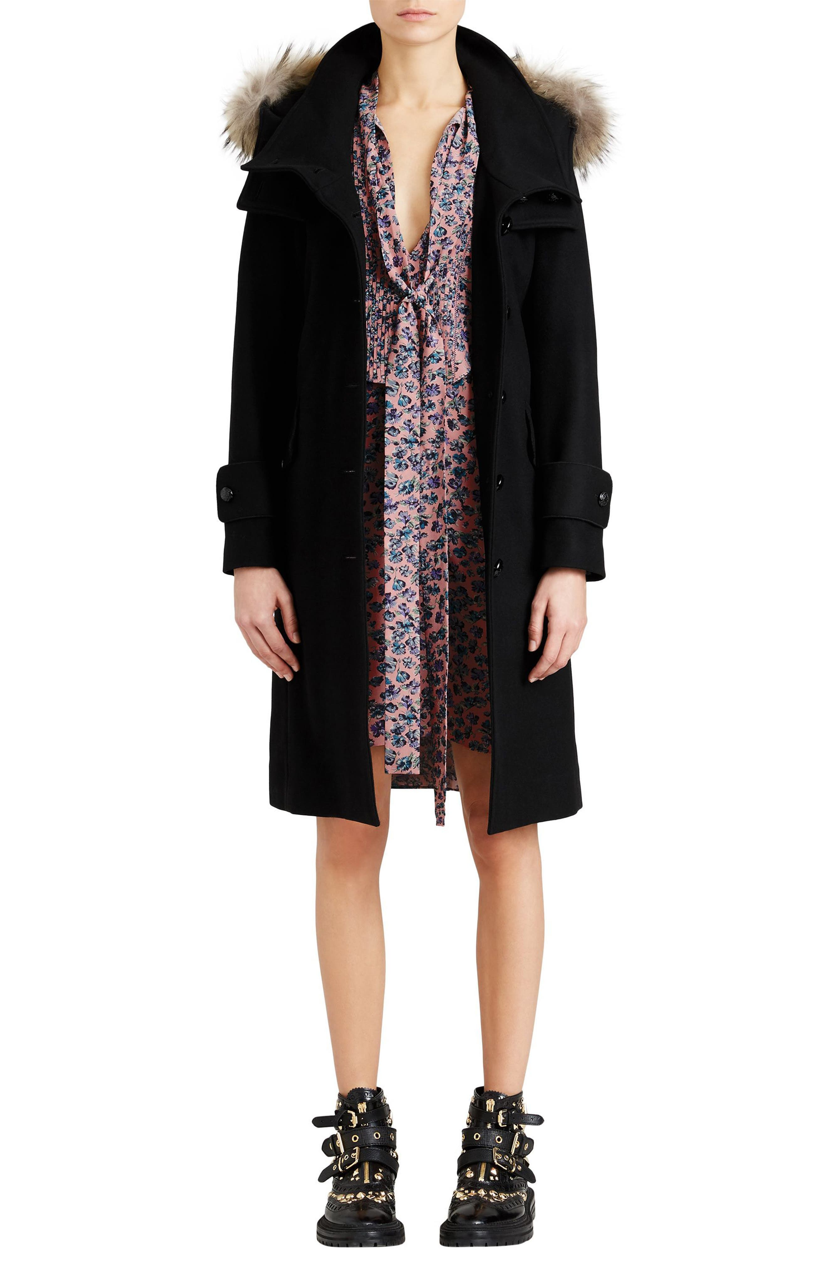 Claybrooke Wool Blend Coat with Removable Genuine Fox Fur Trim,                             Alternate thumbnail 9, color,                             001