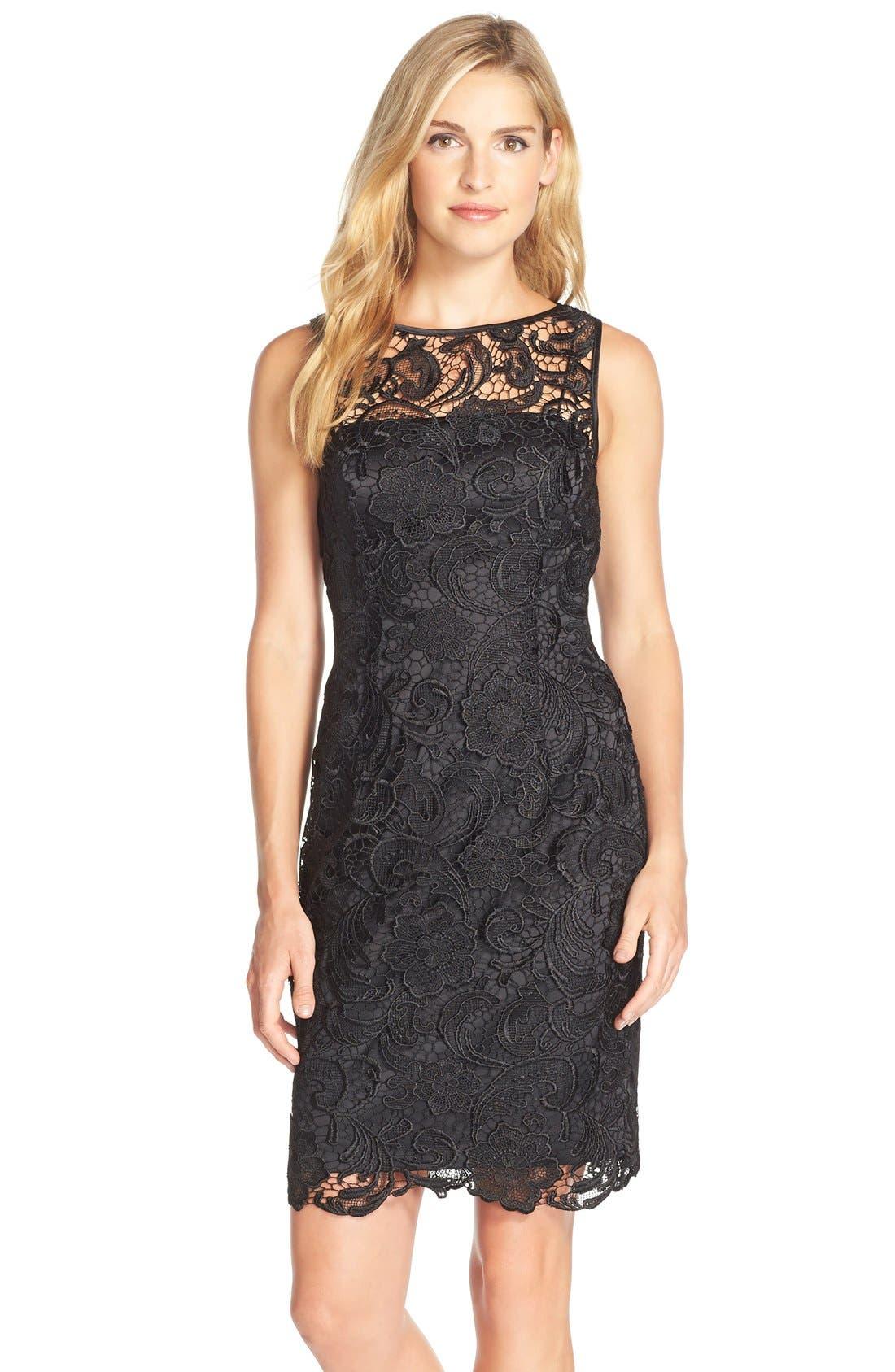 Illusion Bodice Lace Sheath Dress,                             Main thumbnail 2, color,