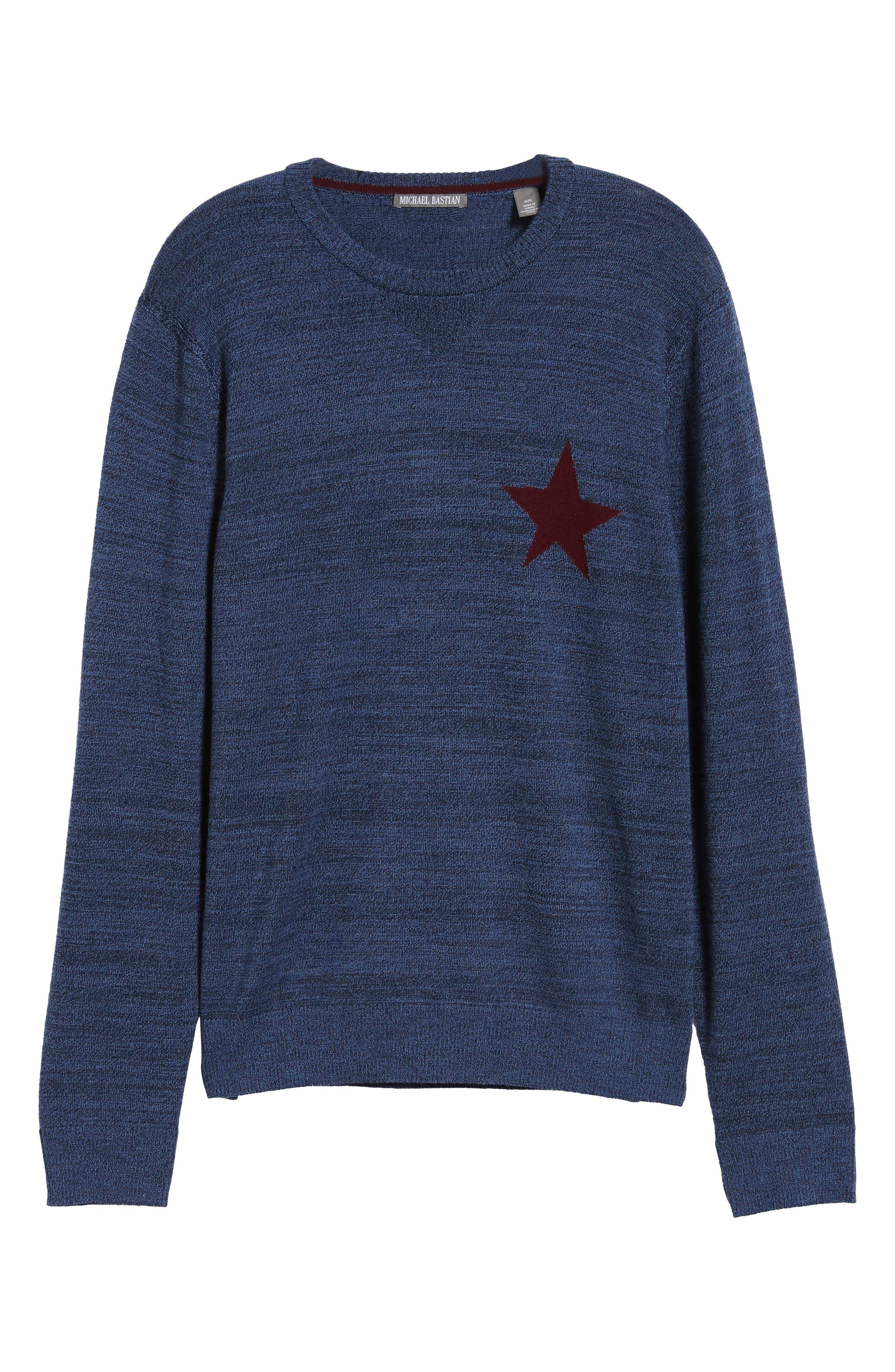 Intaria Star Merino Wool Sweater,                             Alternate thumbnail 6, color,                             BLUE
