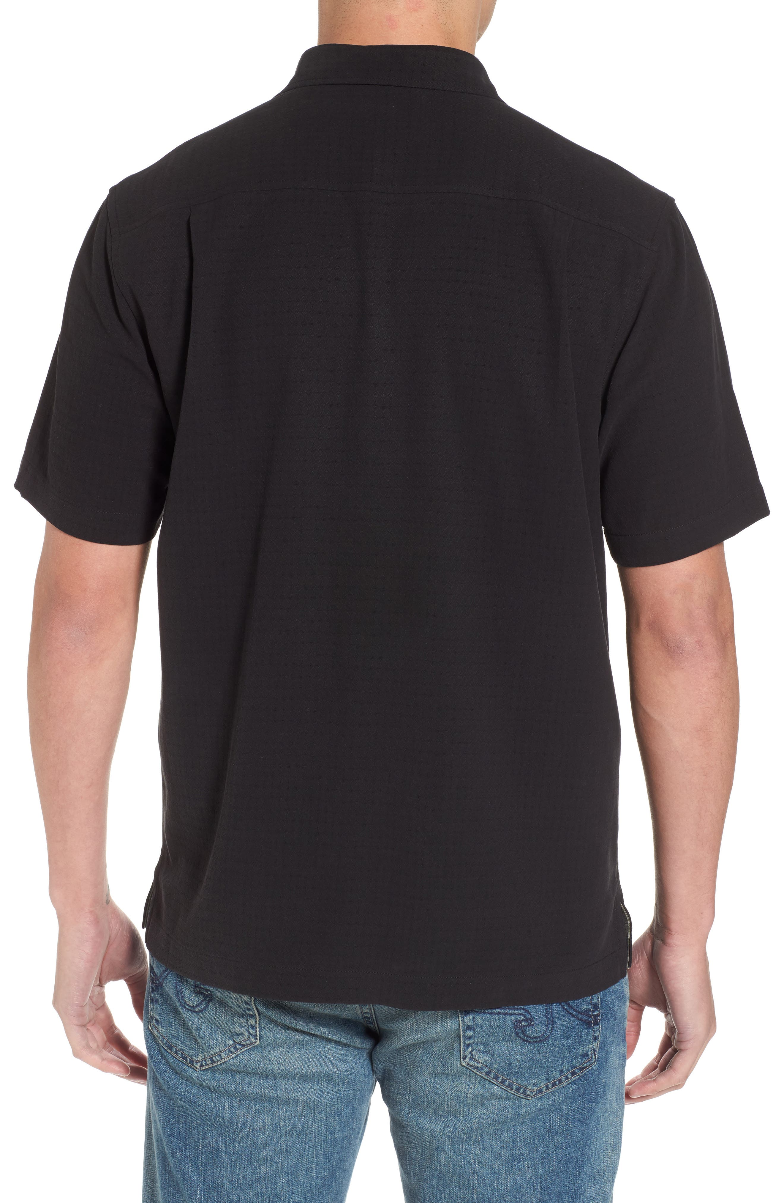 Oasis Jacquard Silk Sport Shirt,                             Alternate thumbnail 2, color,                             001