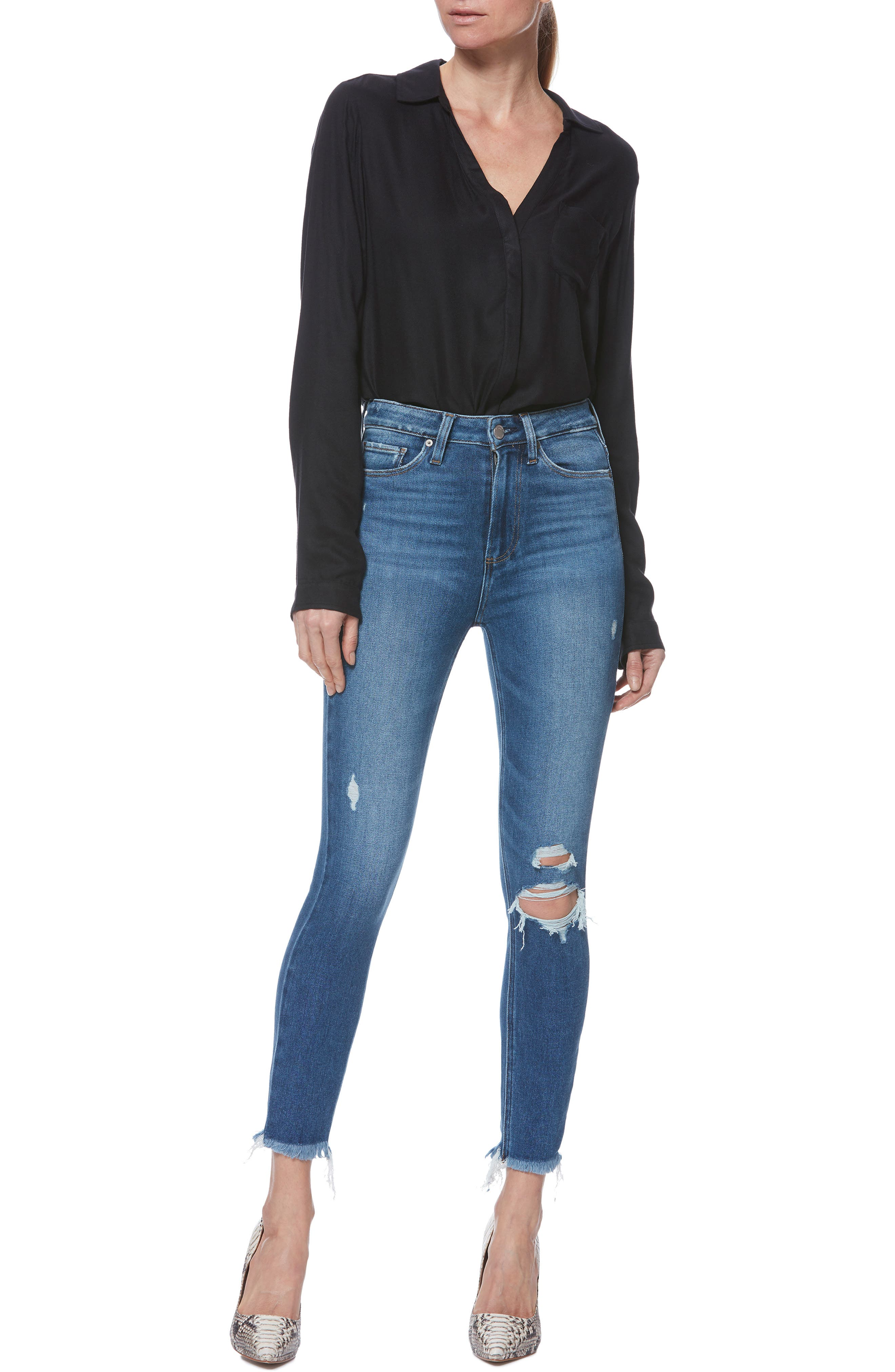 PAIGE,                             Margot High Waist Crop Skinny Jeans,                             Alternate thumbnail 7, color,                             ALESSIO DESTRUCTED