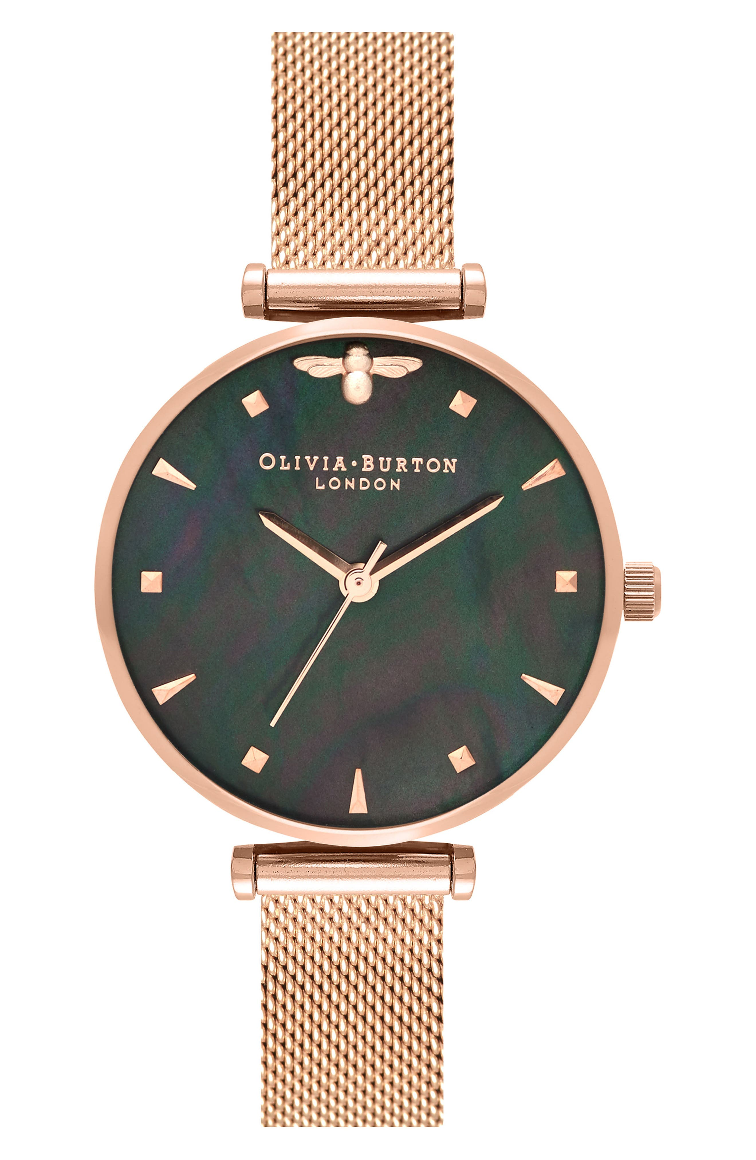 Queen Bee Mesh Strap Watch, 30mm,                             Main thumbnail 1, color,                             ROSE GOLD/ BLACK MOP/ SILVER
