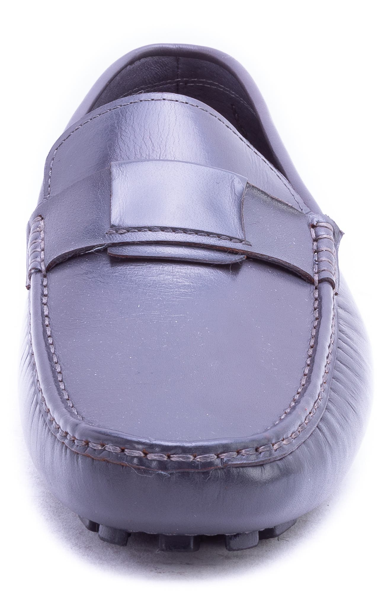 Newton Driving Moccasin,                             Alternate thumbnail 4, color,                             GREY LEATHER