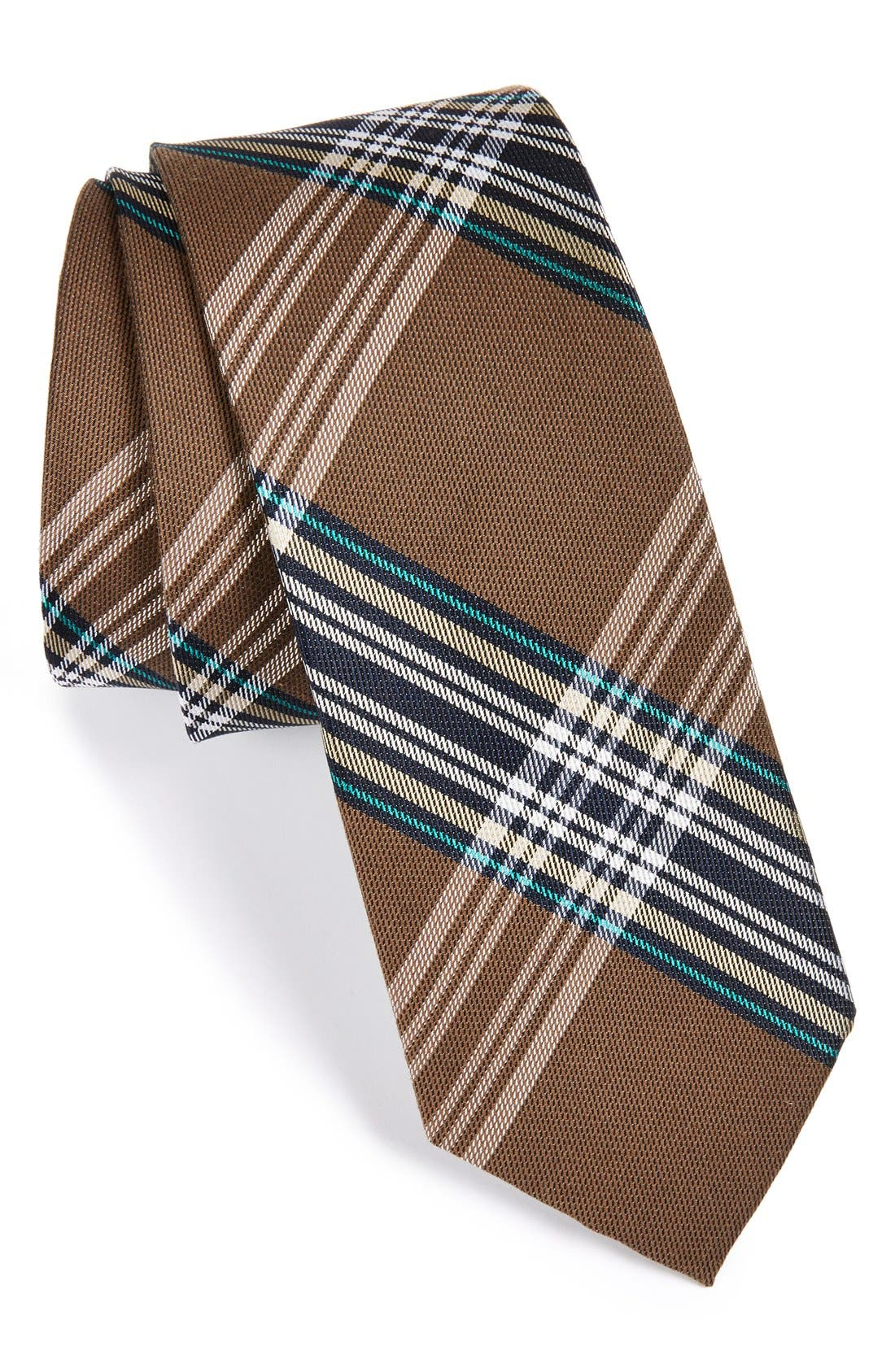 'Delores' Plaid Silk & Cotton Tie,                         Main,                         color, 200