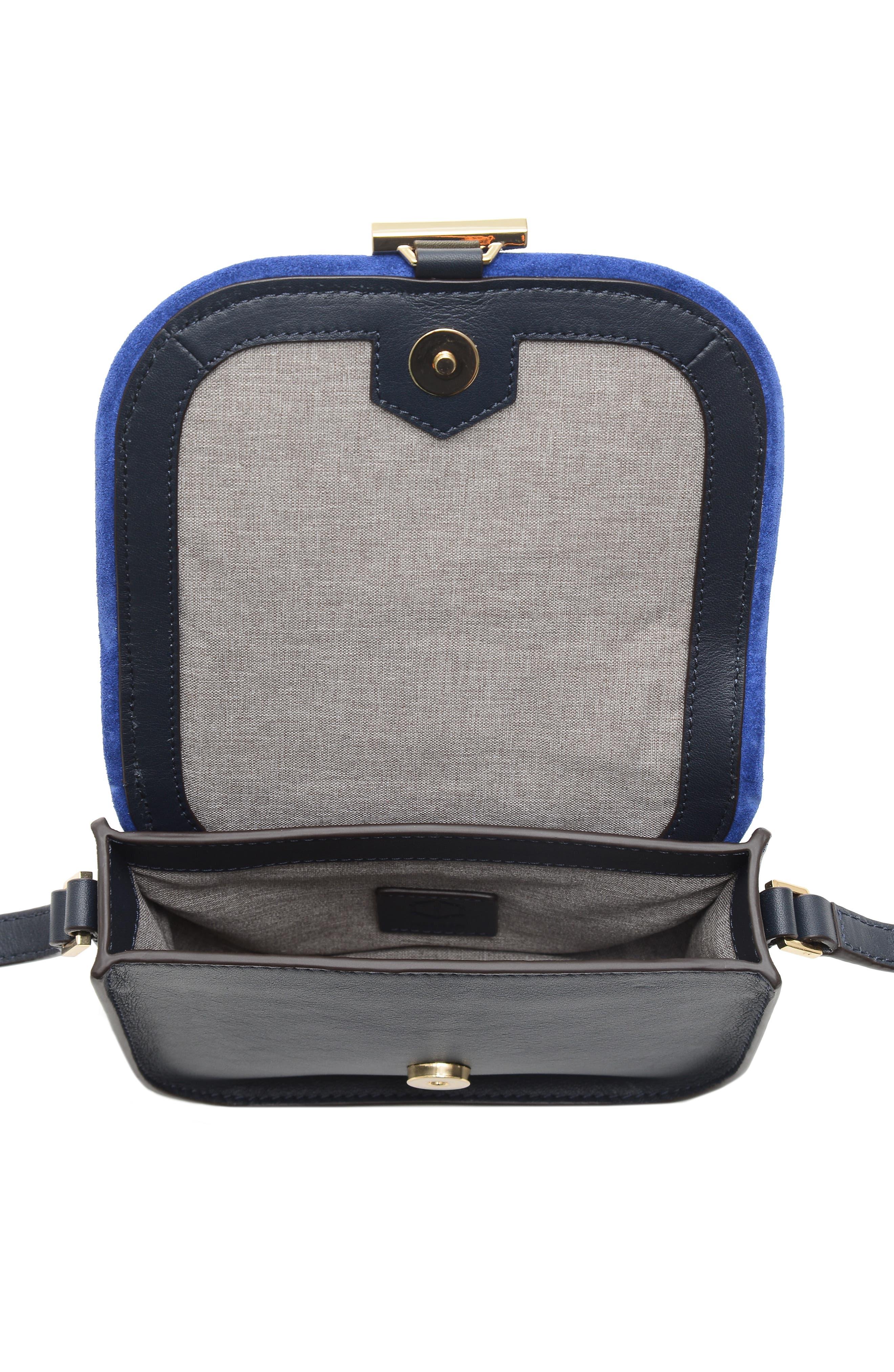 Mini Summit Suede & Leather Crossbody Bag,                             Alternate thumbnail 4, color,                             400