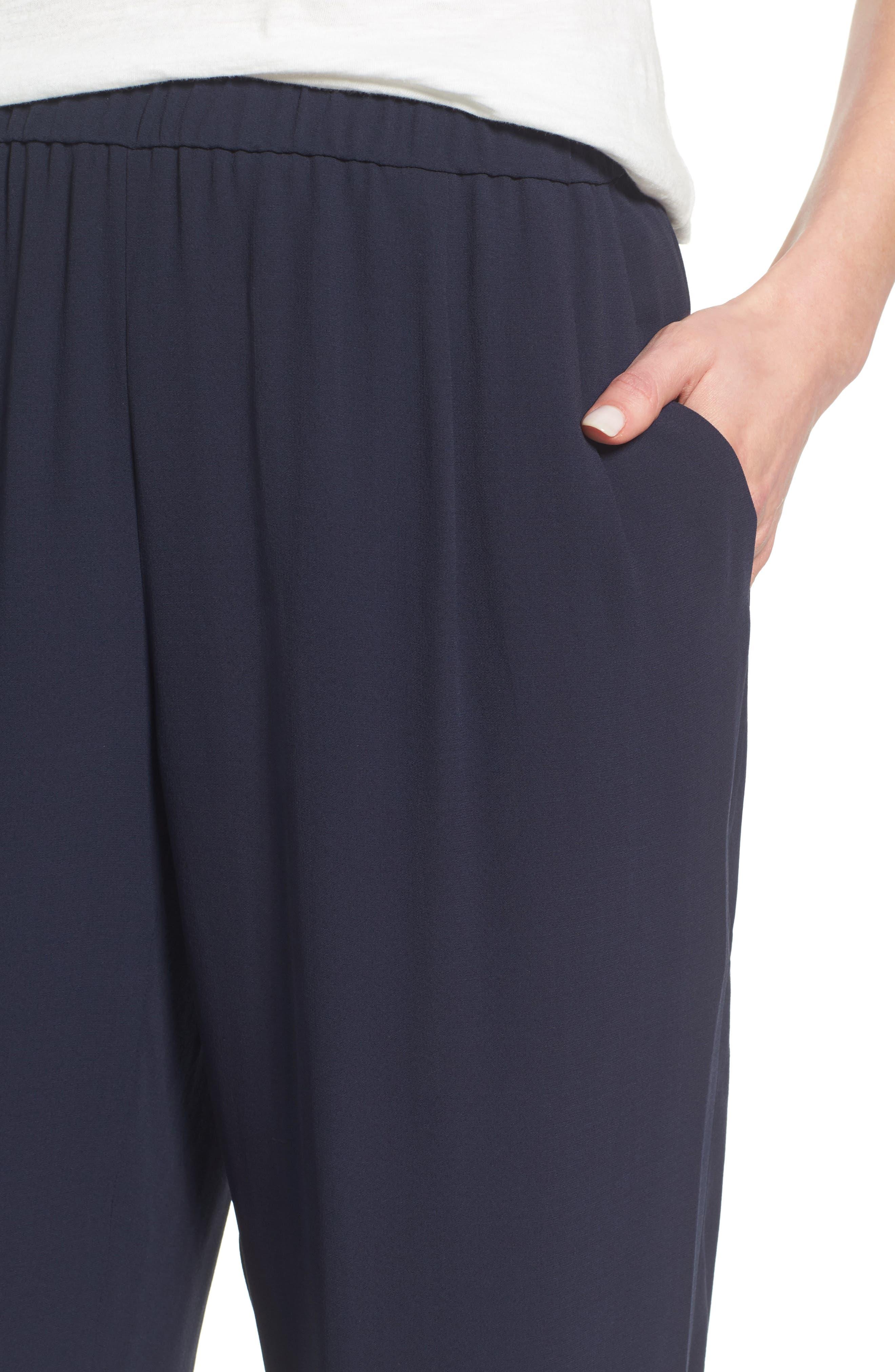 Silk Georgette Crepe Straight Ankle Pants,                             Alternate thumbnail 22, color,