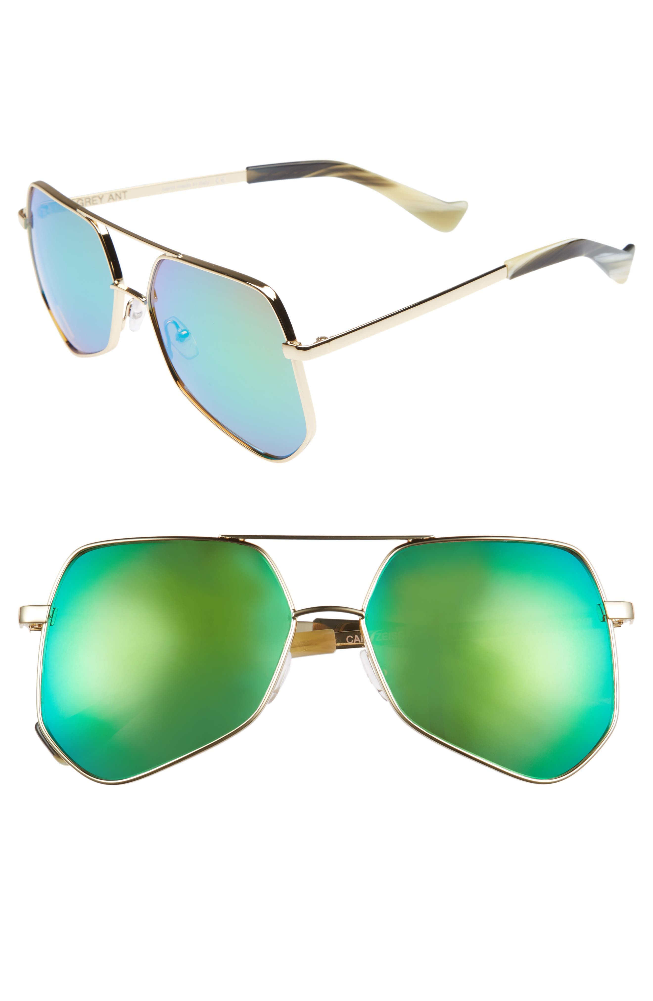 Grey Ant Megalast Ii 55Mm Sunglasses - Green Lens/ Gold Hardware