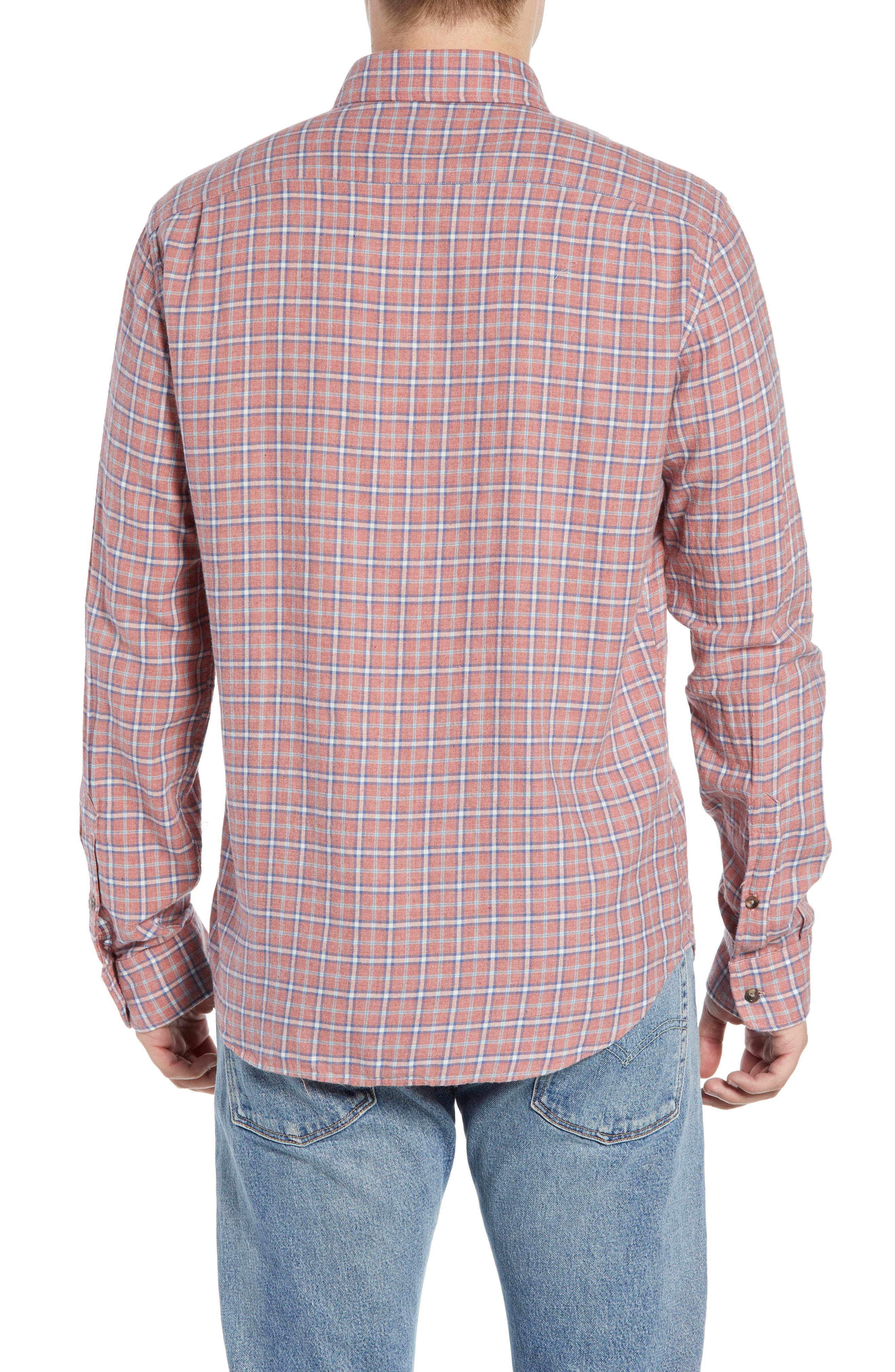 Pacific Check Organic Cotton Sport Shirt,                             Alternate thumbnail 3, color,                             HEATHER RED MULTI