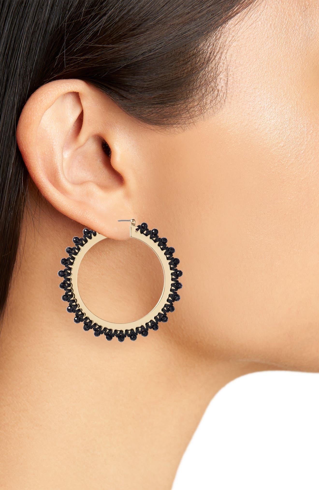 wrap it up hoop earrings,                             Alternate thumbnail 2, color,                             BLACK