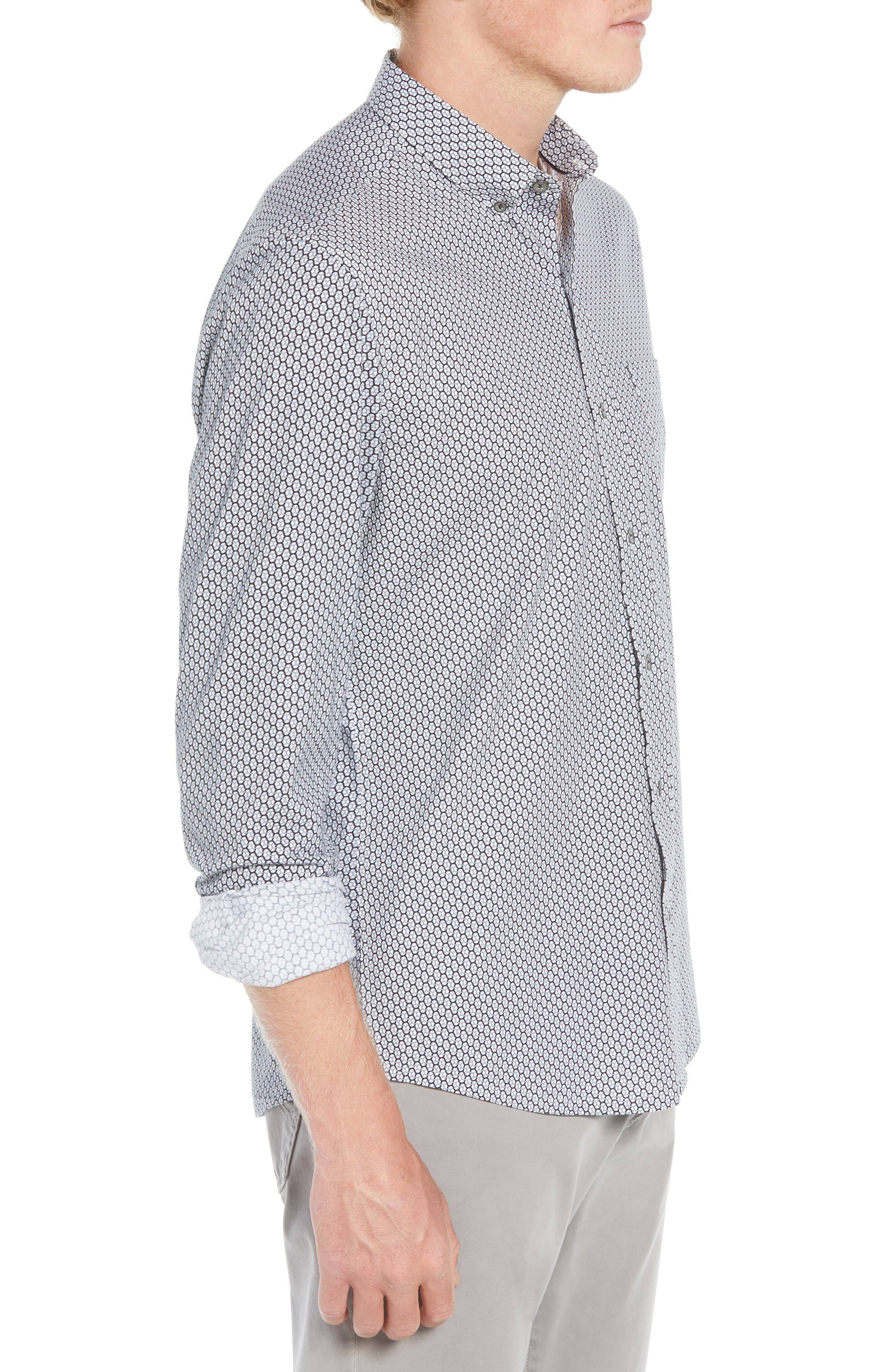 Reworked Slim Fit Print Sport Shirt,                             Alternate thumbnail 4, color,                             WHITE/ GREY
