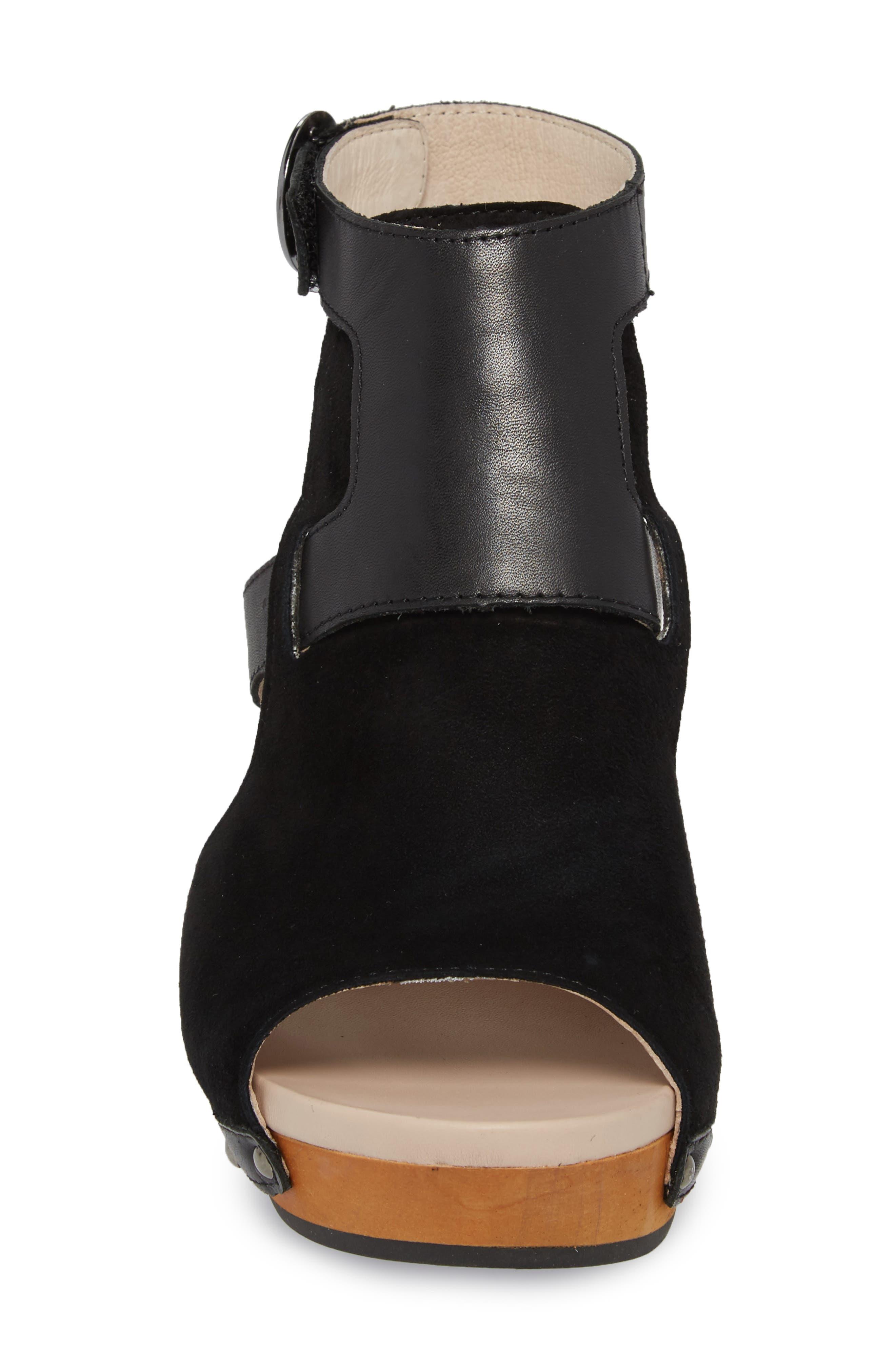 Gina Platform Sandal,                             Alternate thumbnail 4, color,                             BLACK LEATHER
