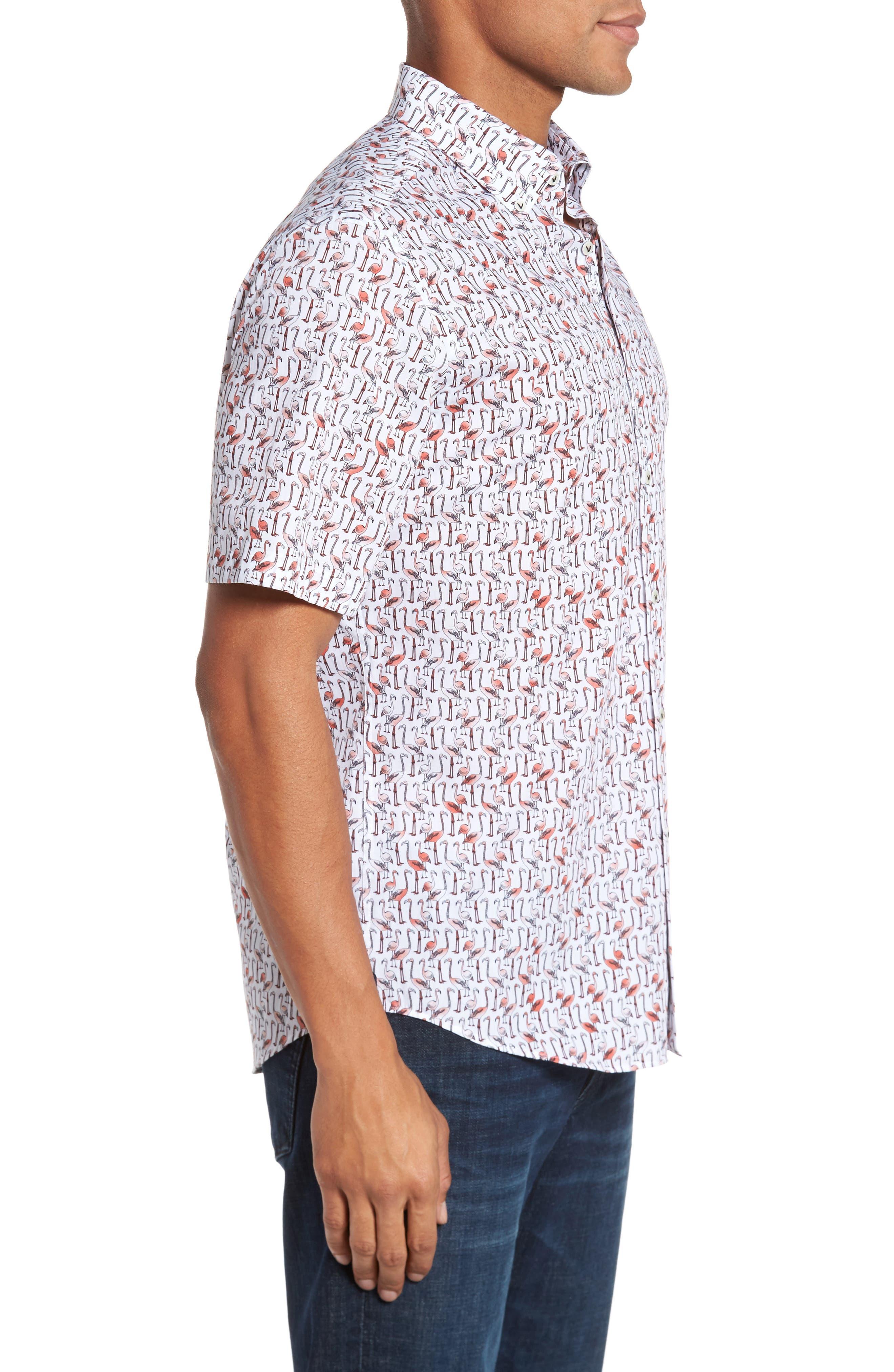 Slim Fit Flamingo Sport Shirt,                             Alternate thumbnail 3, color,                             950