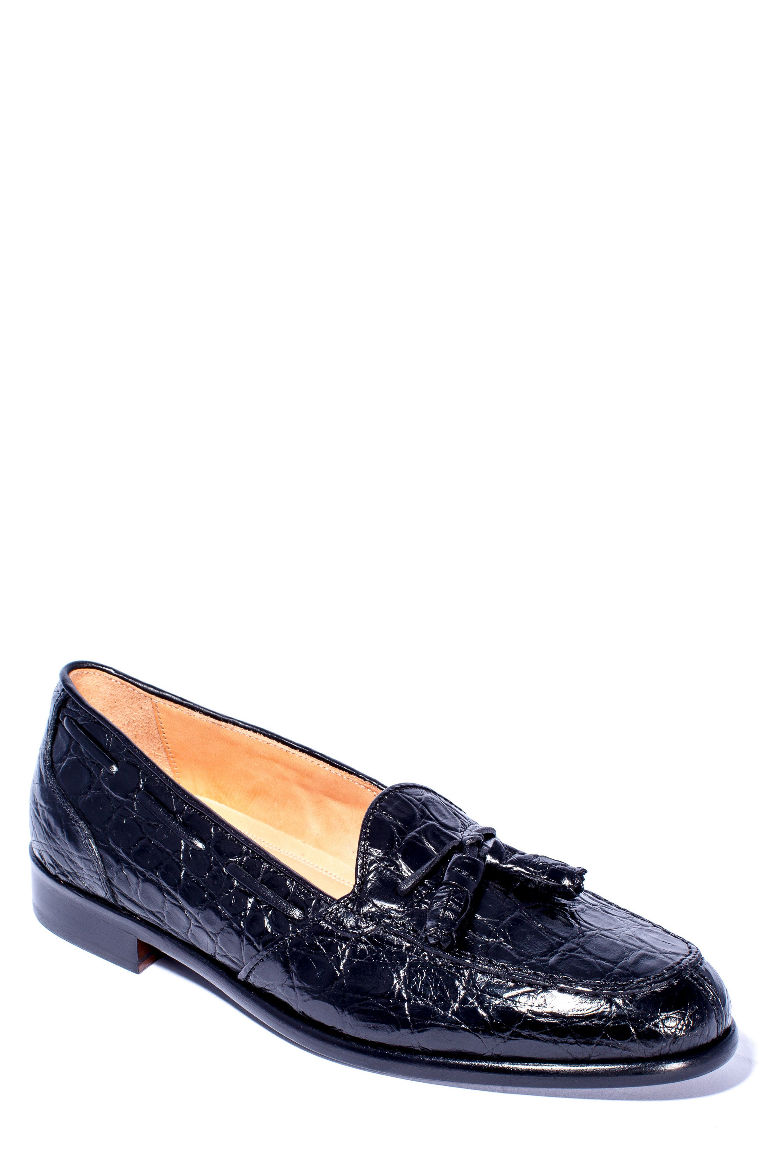Franco Tassel Exotic Leather Loafer,                             Main thumbnail 1, color,                             001