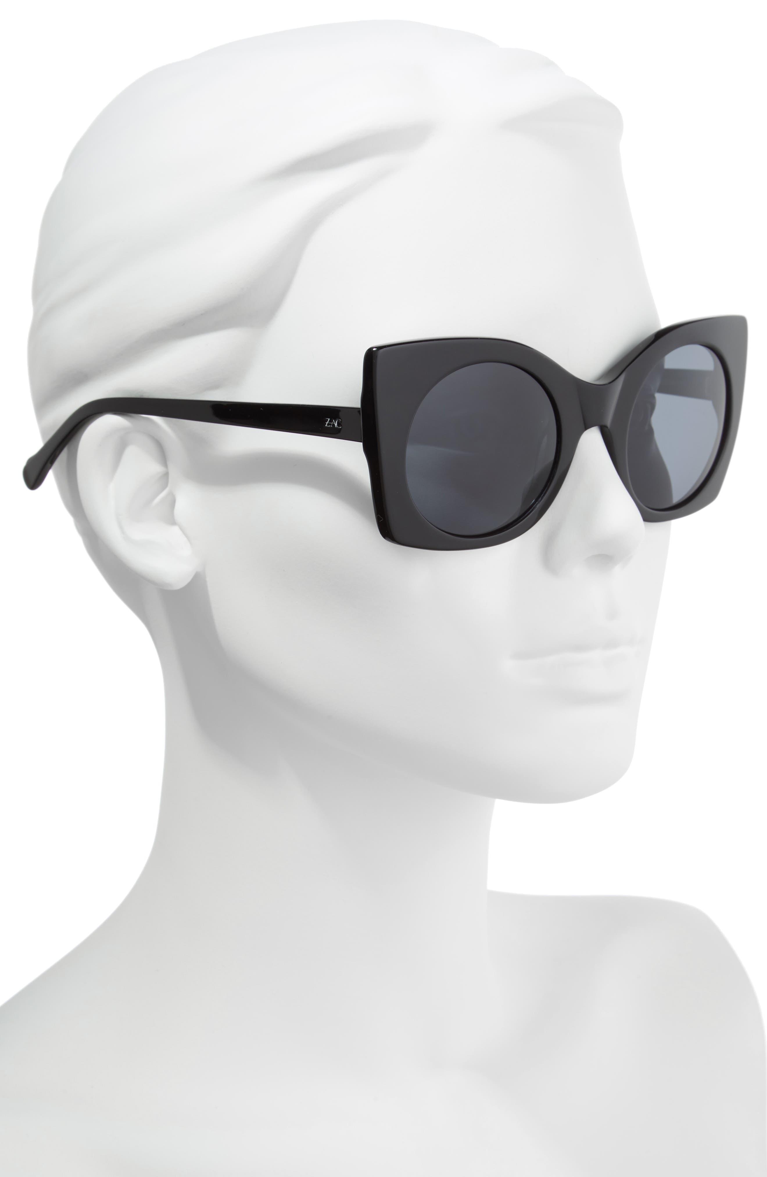 Leona 50mm Polarized Sunglasses,                             Alternate thumbnail 2, color,                             BLACK POLAR