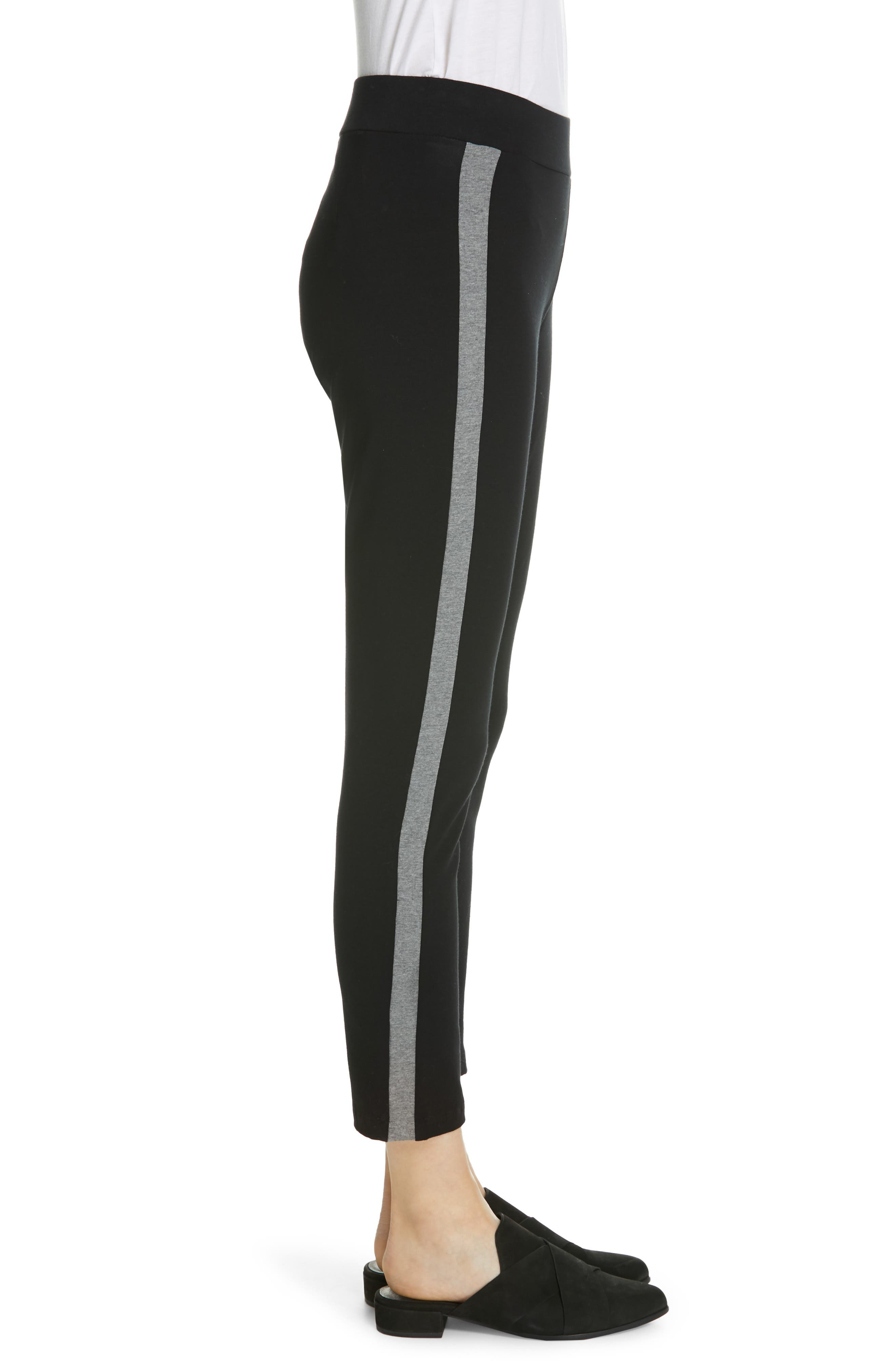 Side Stripe Slim Pants,                             Alternate thumbnail 3, color,                             BLACK