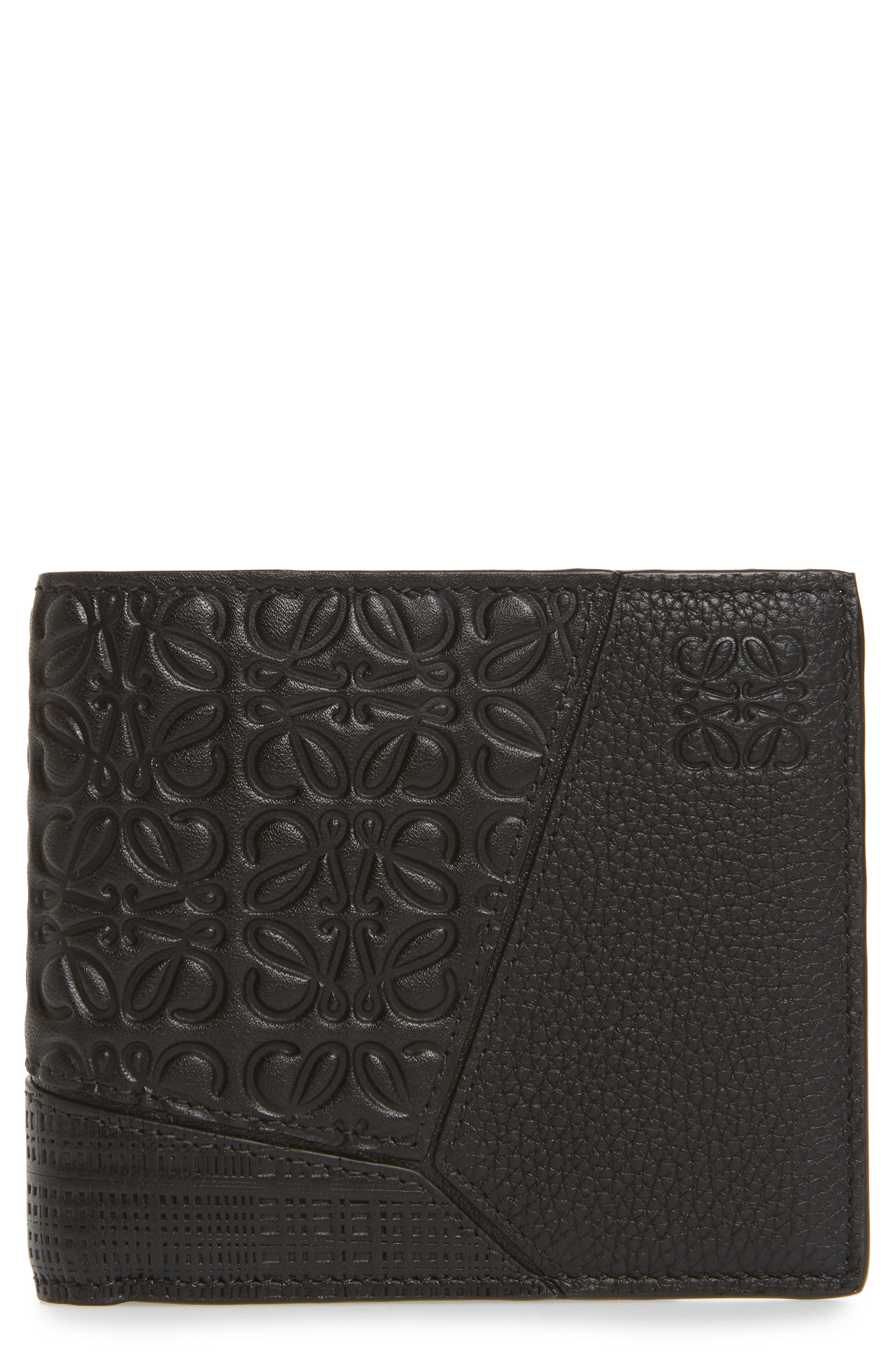 Puzzle Bifold Leather Wallet,                         Main,                         color, BLACK