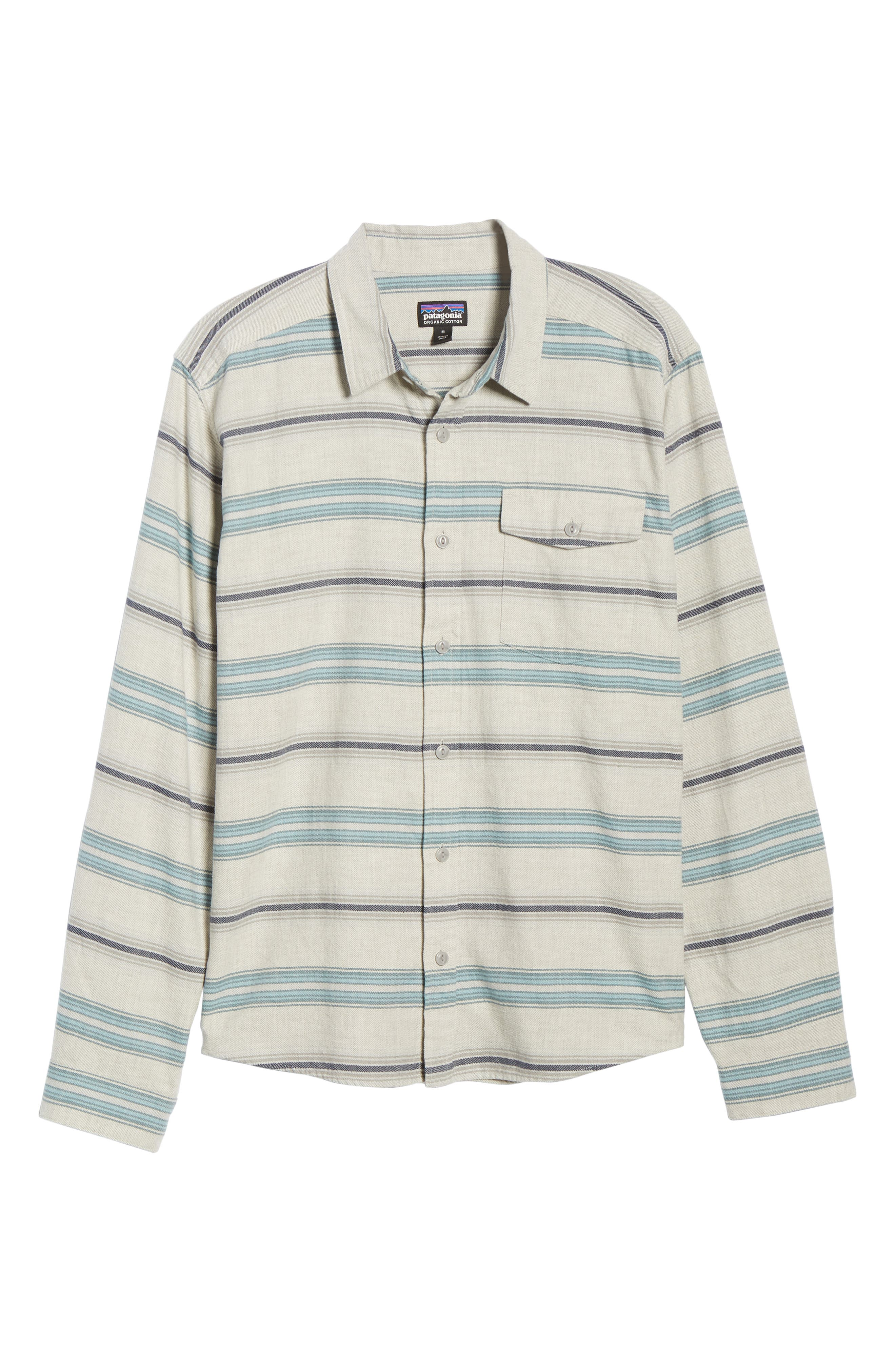 PATAGONIA,                             Regular Fit Organic Cotton Flannel Shirt,                             Alternate thumbnail 5, color,                             TARKINE STRIPE DRIFTER GREY