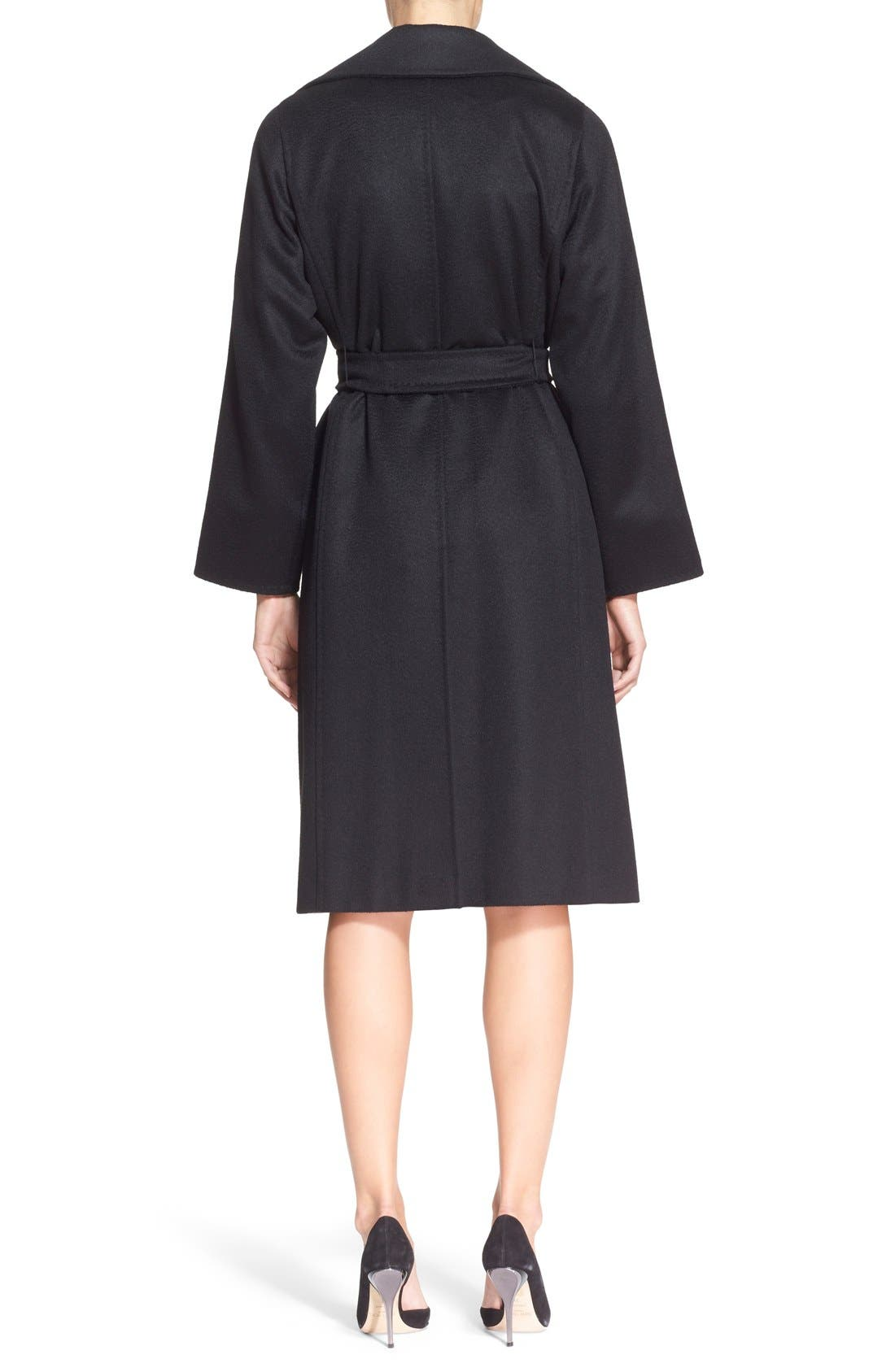 'Manuela' Camel Hair Coat,                             Alternate thumbnail 2, color,                             BLACK