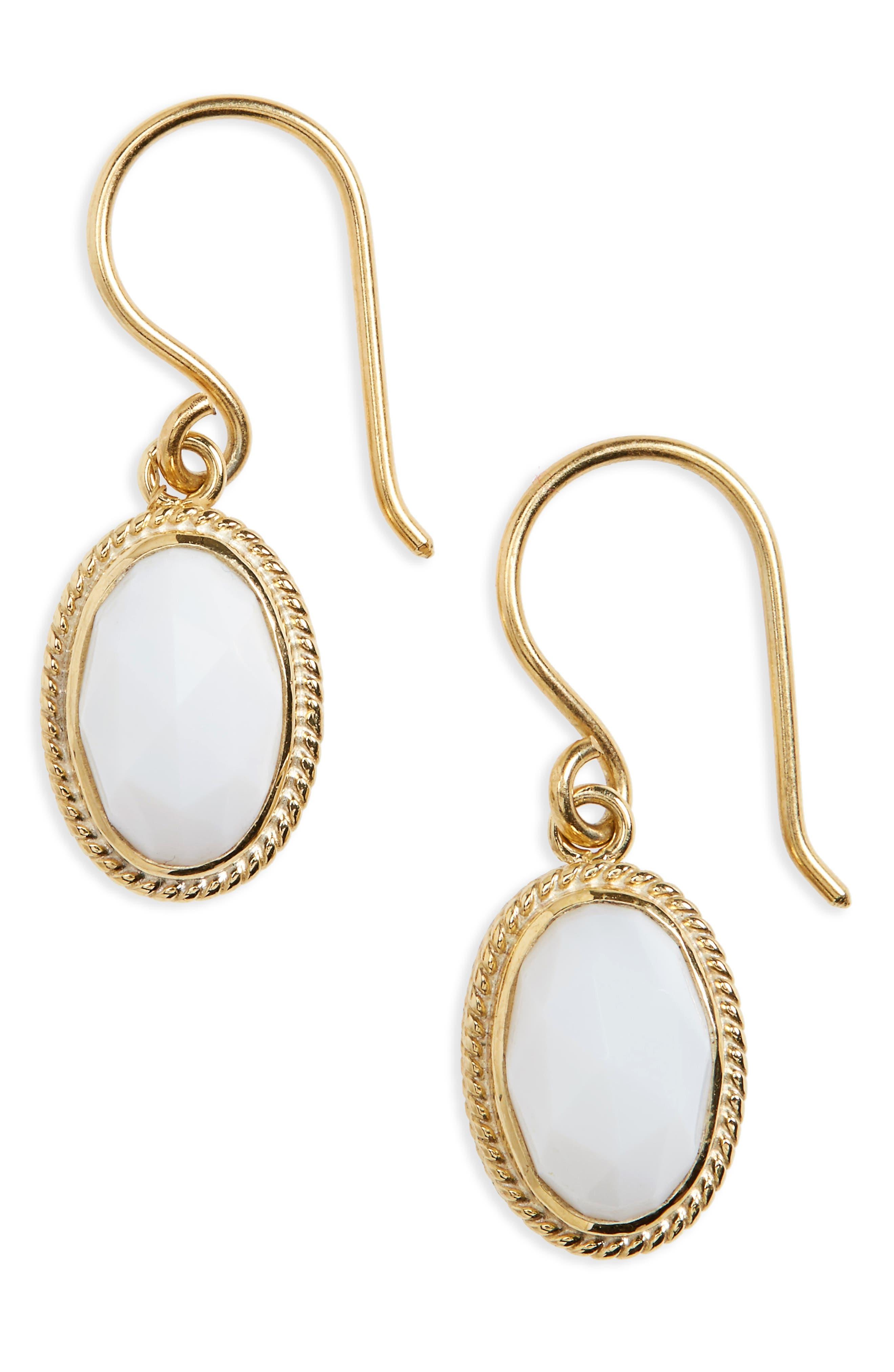 White Opal Drop Earrings,                         Main,                         color,