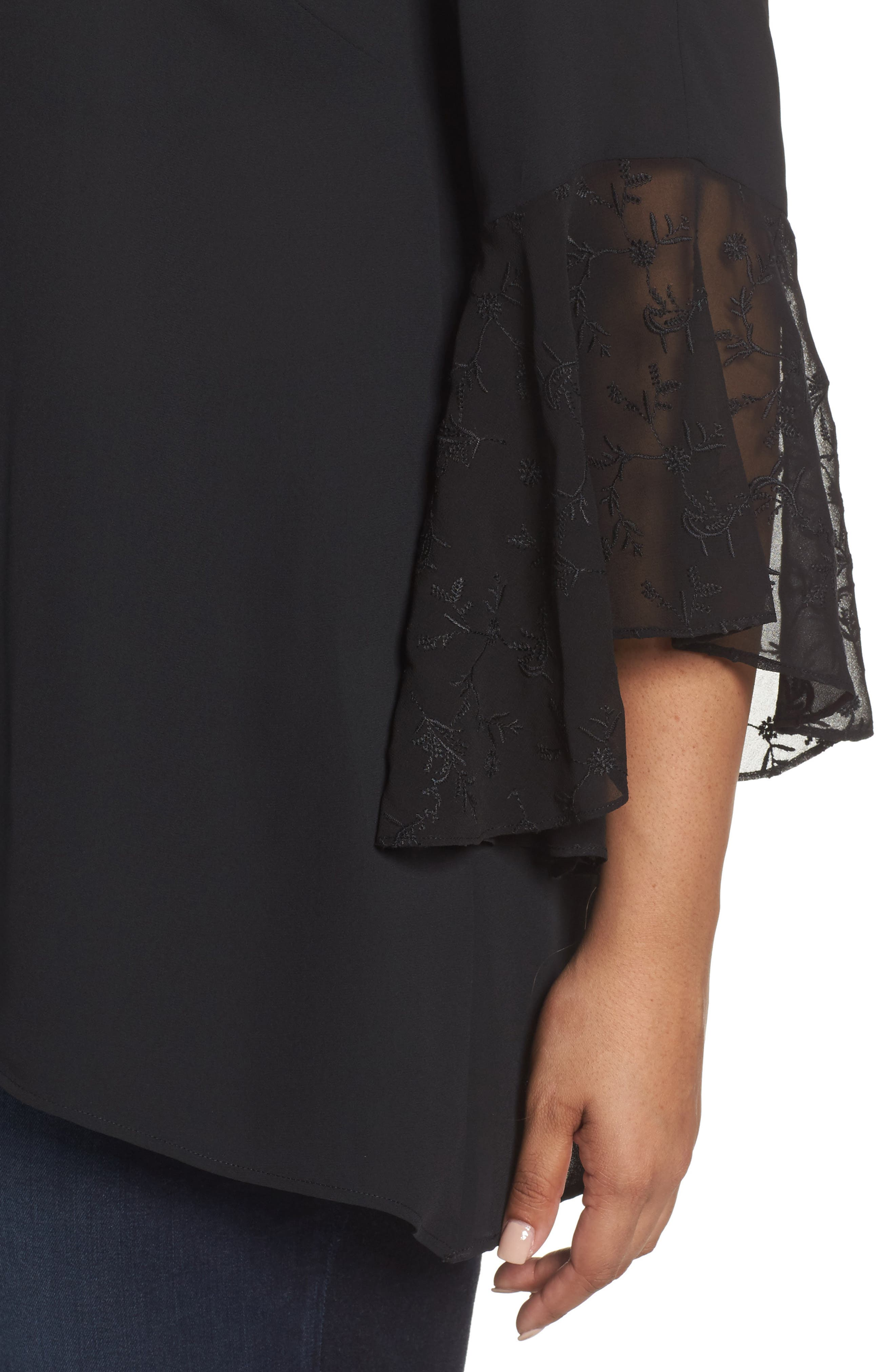 Embroidered Bell Sleeve Blouse,                             Alternate thumbnail 4, color,                             001