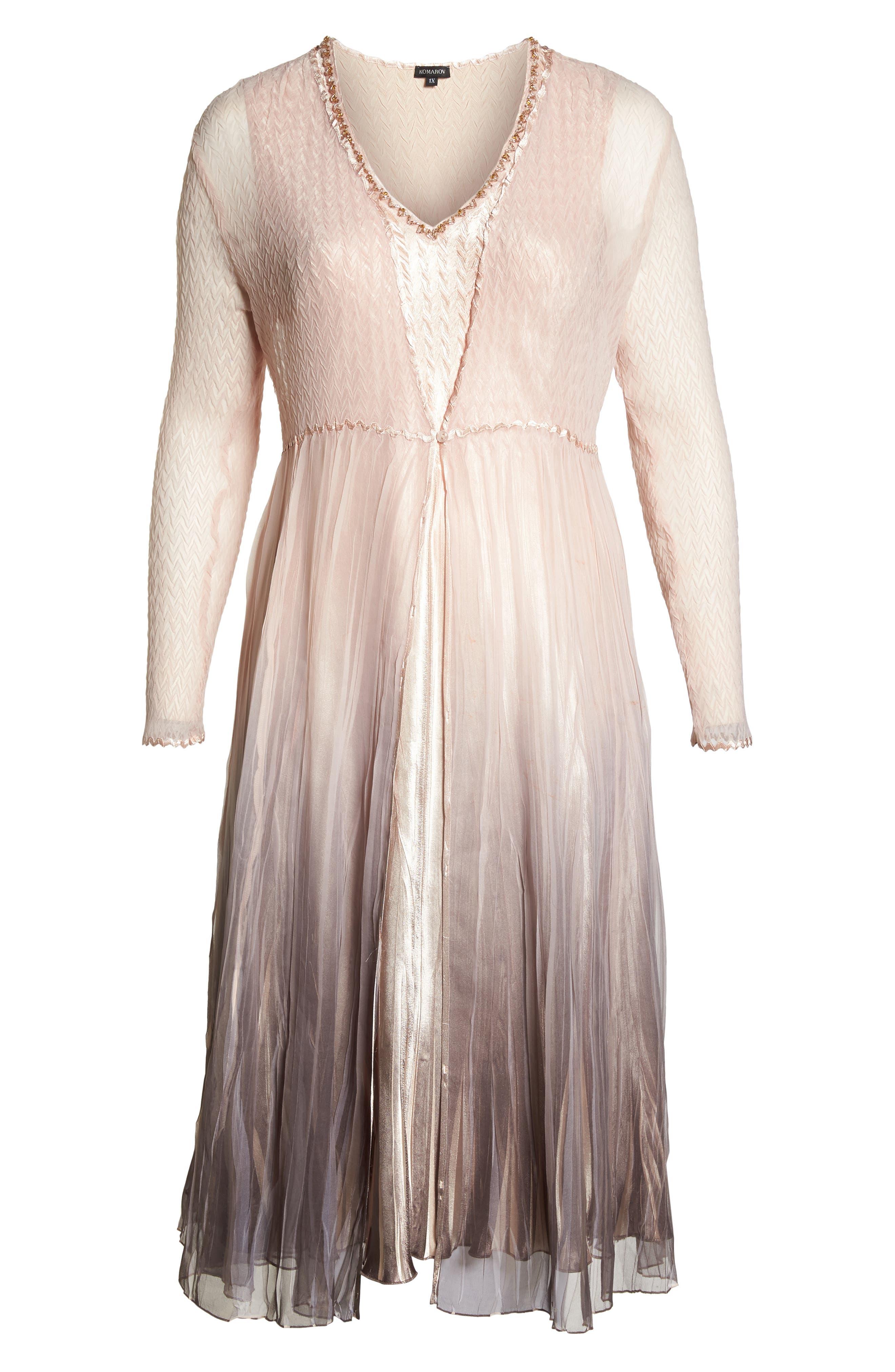 Beaded Neck Charmeuse Dress & Jacket,                             Alternate thumbnail 6, color,                             250