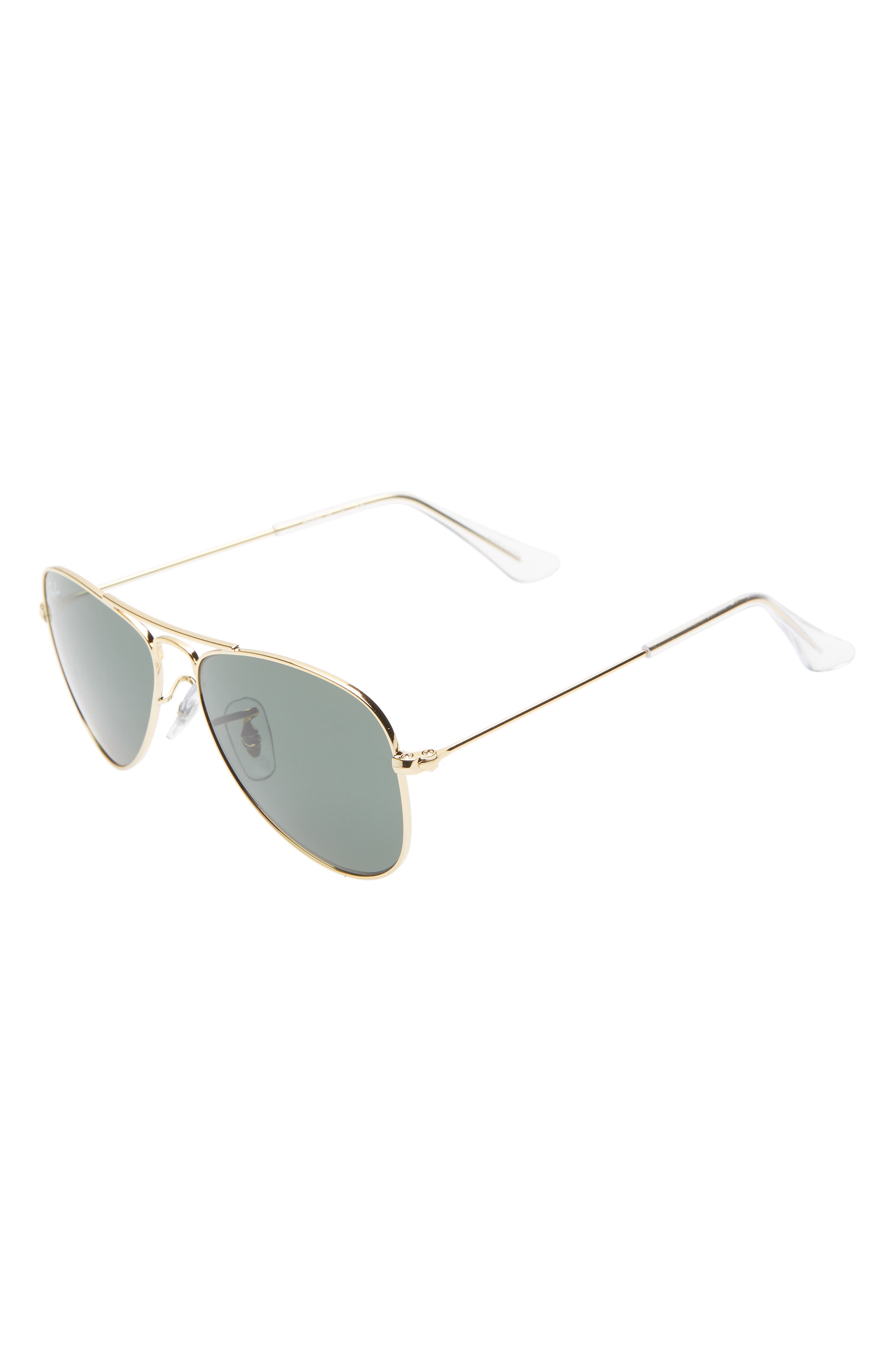 Ray-Ban Junior 50Mm Aviator Sunglasses - Gold/ Green Solid