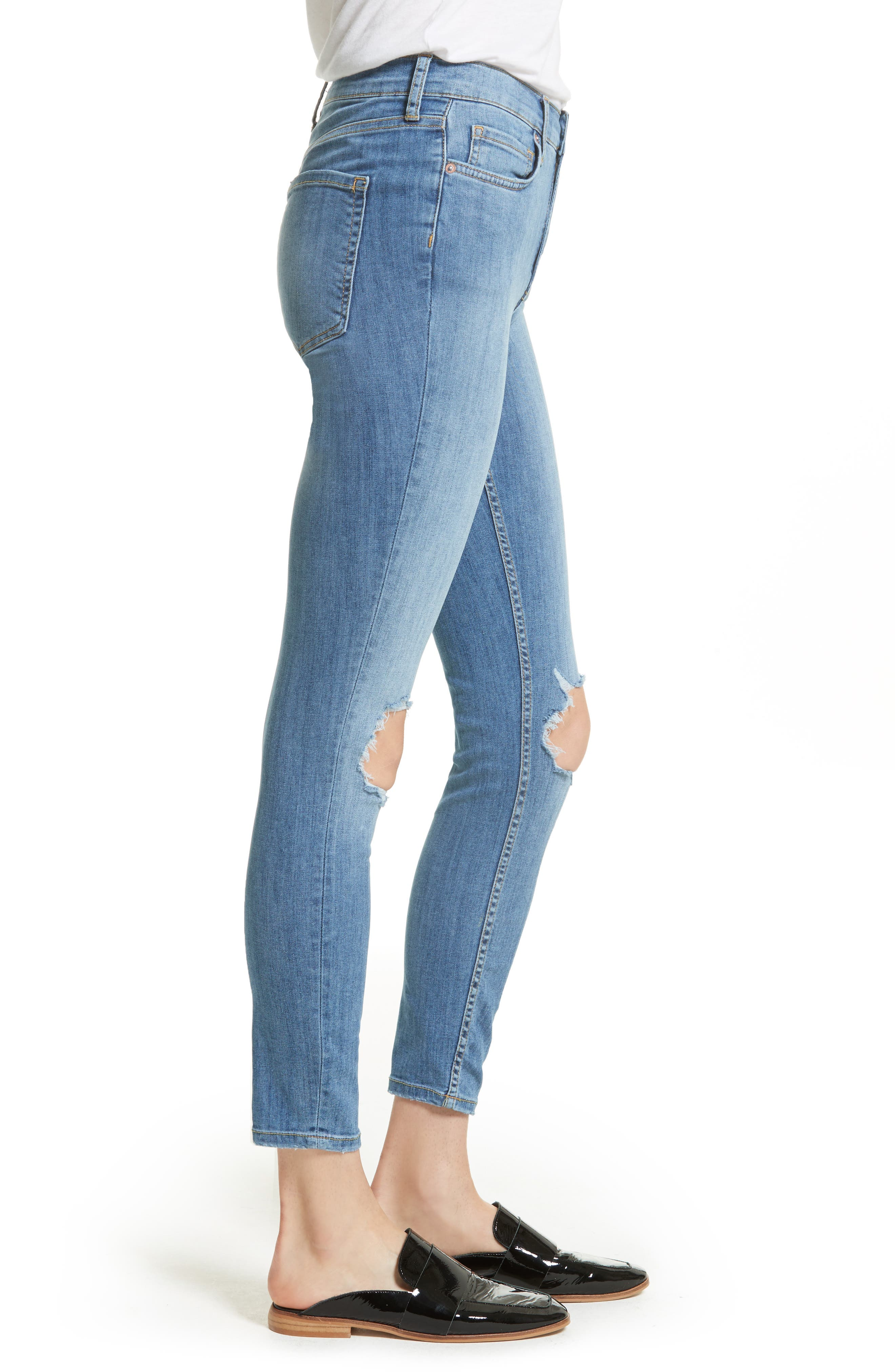 We the People by Free People High Rise Busted Knee Skinny Jeans,                             Alternate thumbnail 12, color,
