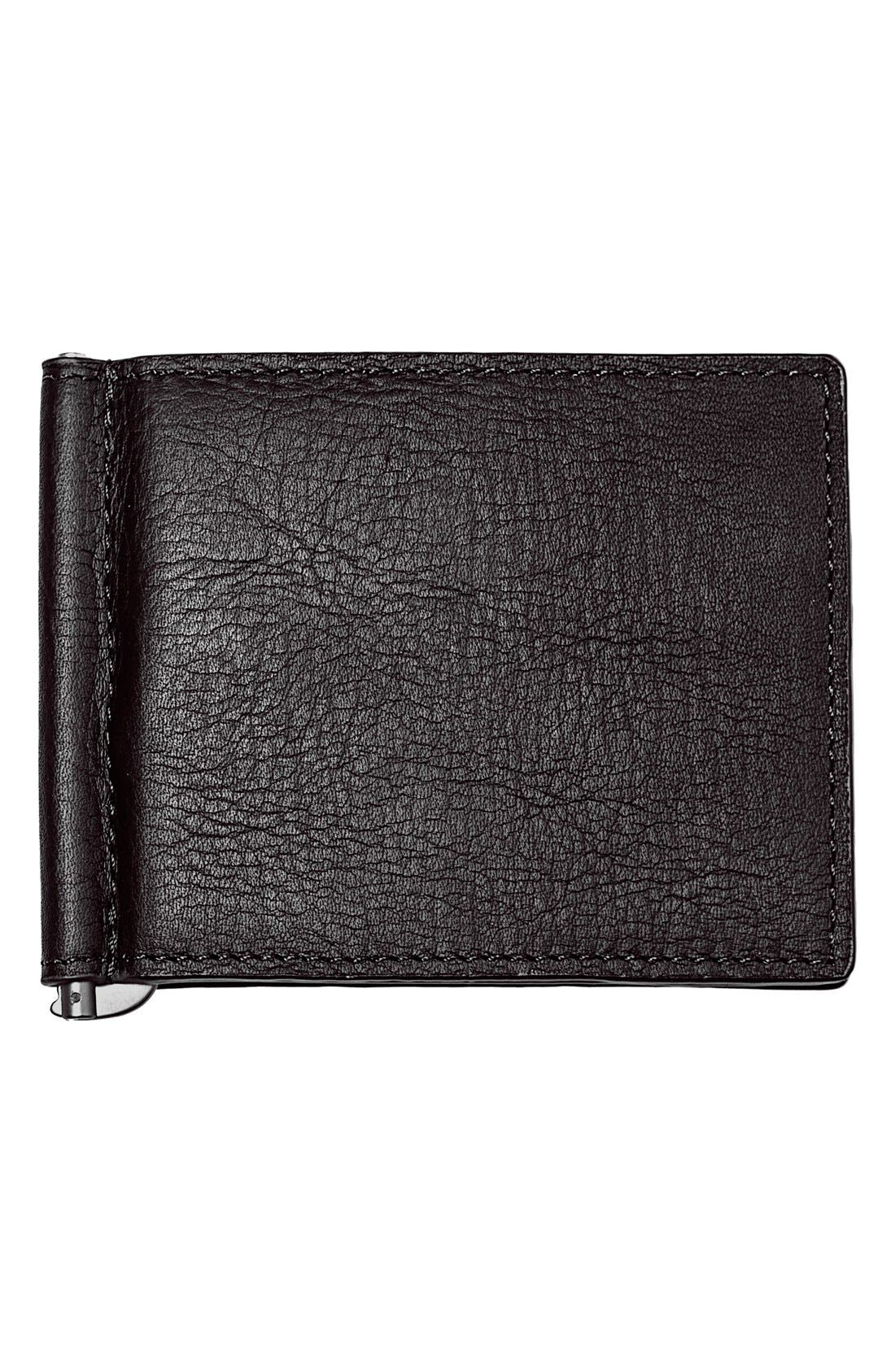 Monogram Leather Wallet & Money Clip,                         Main,                         color, BLACK - BLANK