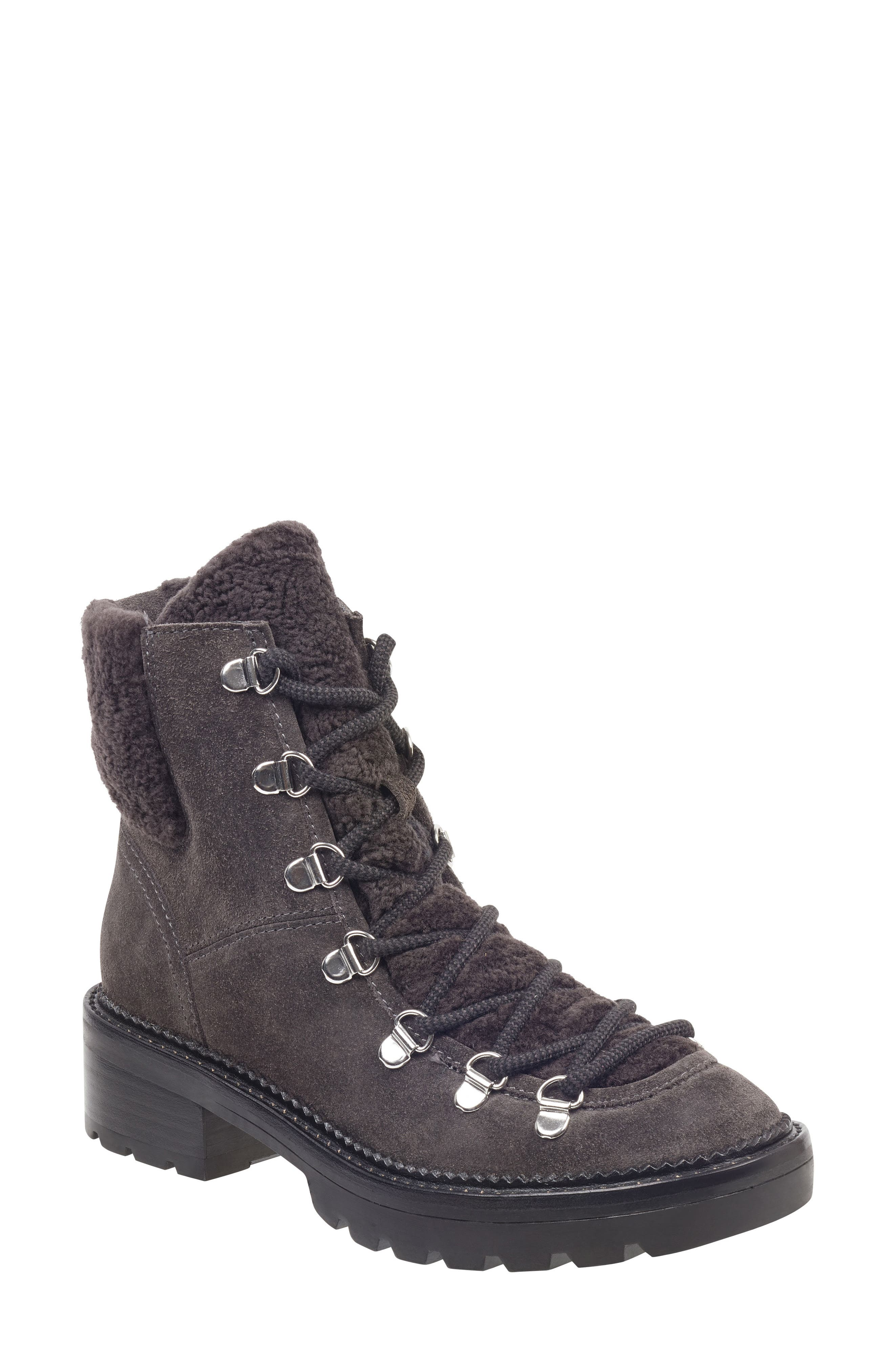 MARC FISHER LTD Capell Genuine Shearling Cuff Lace-Up Boot, Main, color, GREY SUEDE