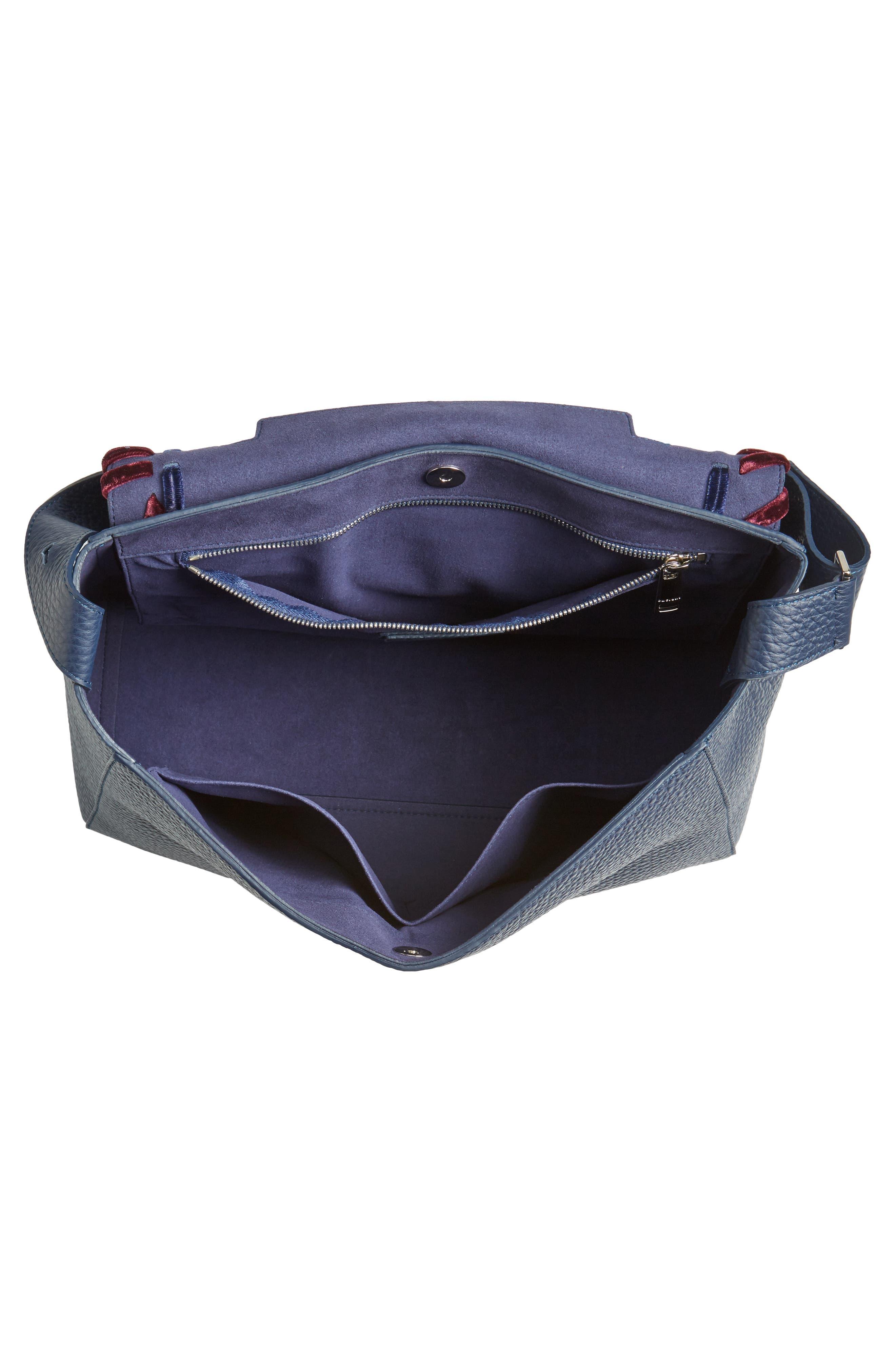 Large Sveva Velvet Trim Calfskin Leather Satchel,                             Alternate thumbnail 4, color,                             400