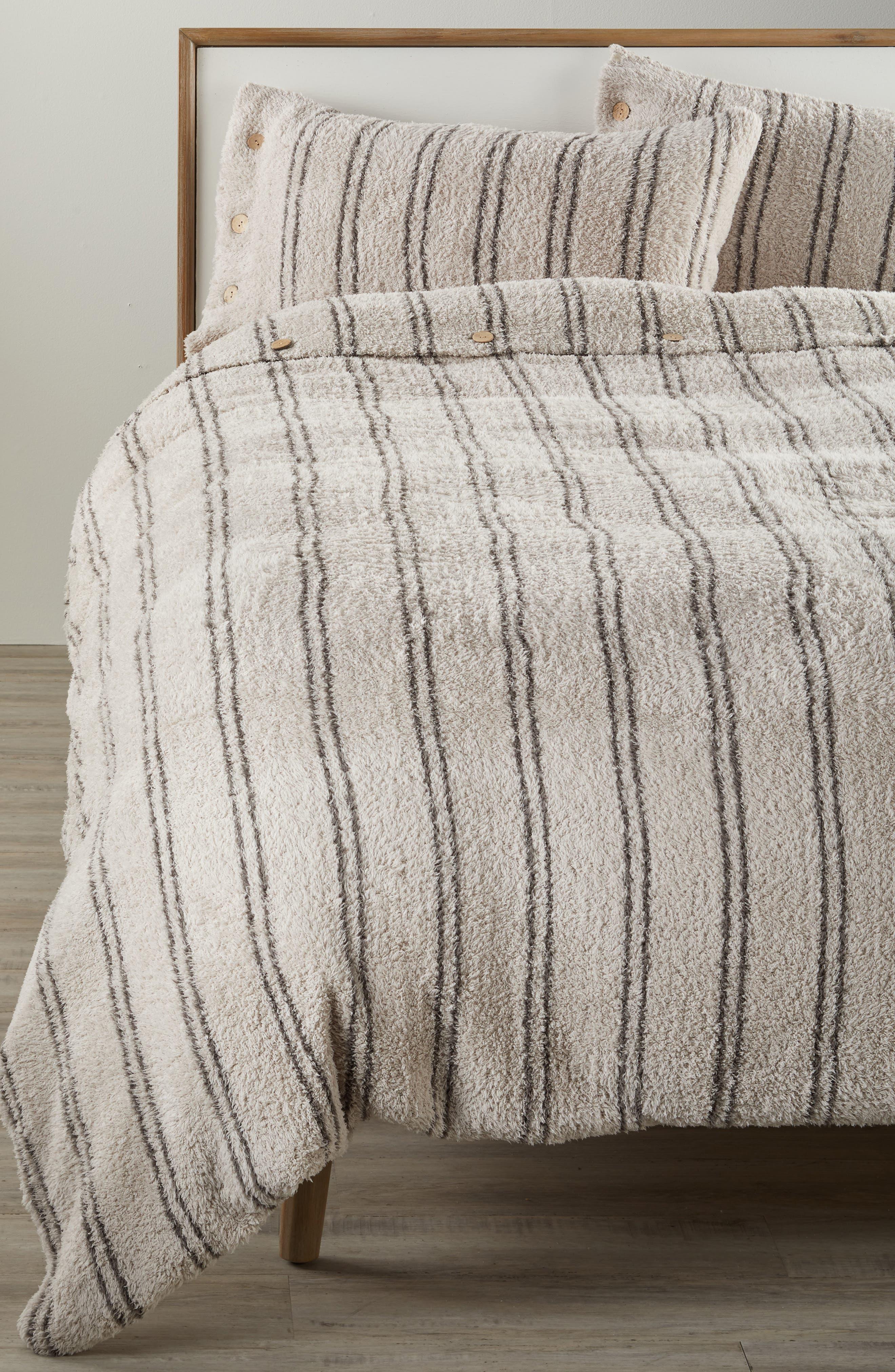 CozyChic<sup>®</sup> Vertical Stripe Duvet Cover & Shams,                             Main thumbnail 1, color,                             STONE/ CHARCOAL