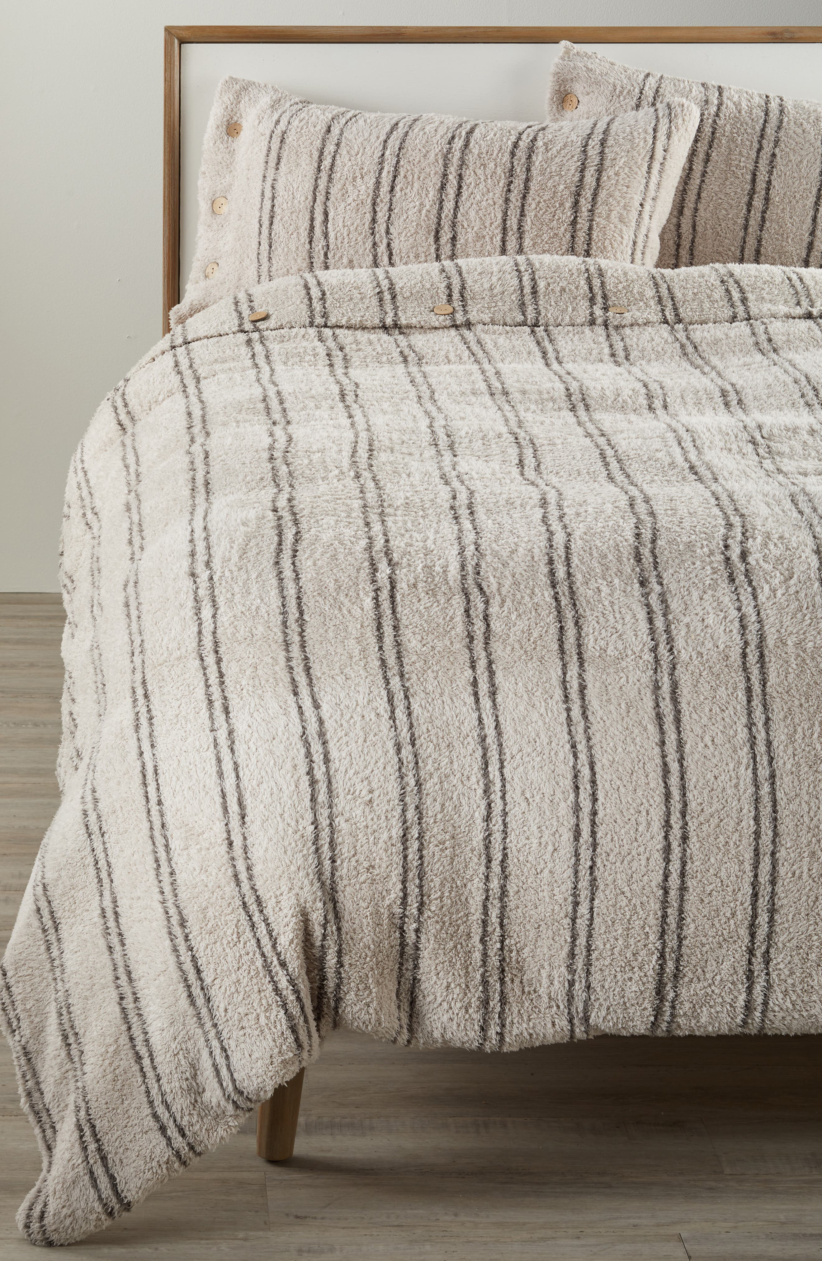 BAREFOOT DREAMS<SUP>®</SUP> CozyChic<sup>®</sup> Vertical Stripe Duvet Cover & Shams, Main, color, STONE/ CHARCOAL