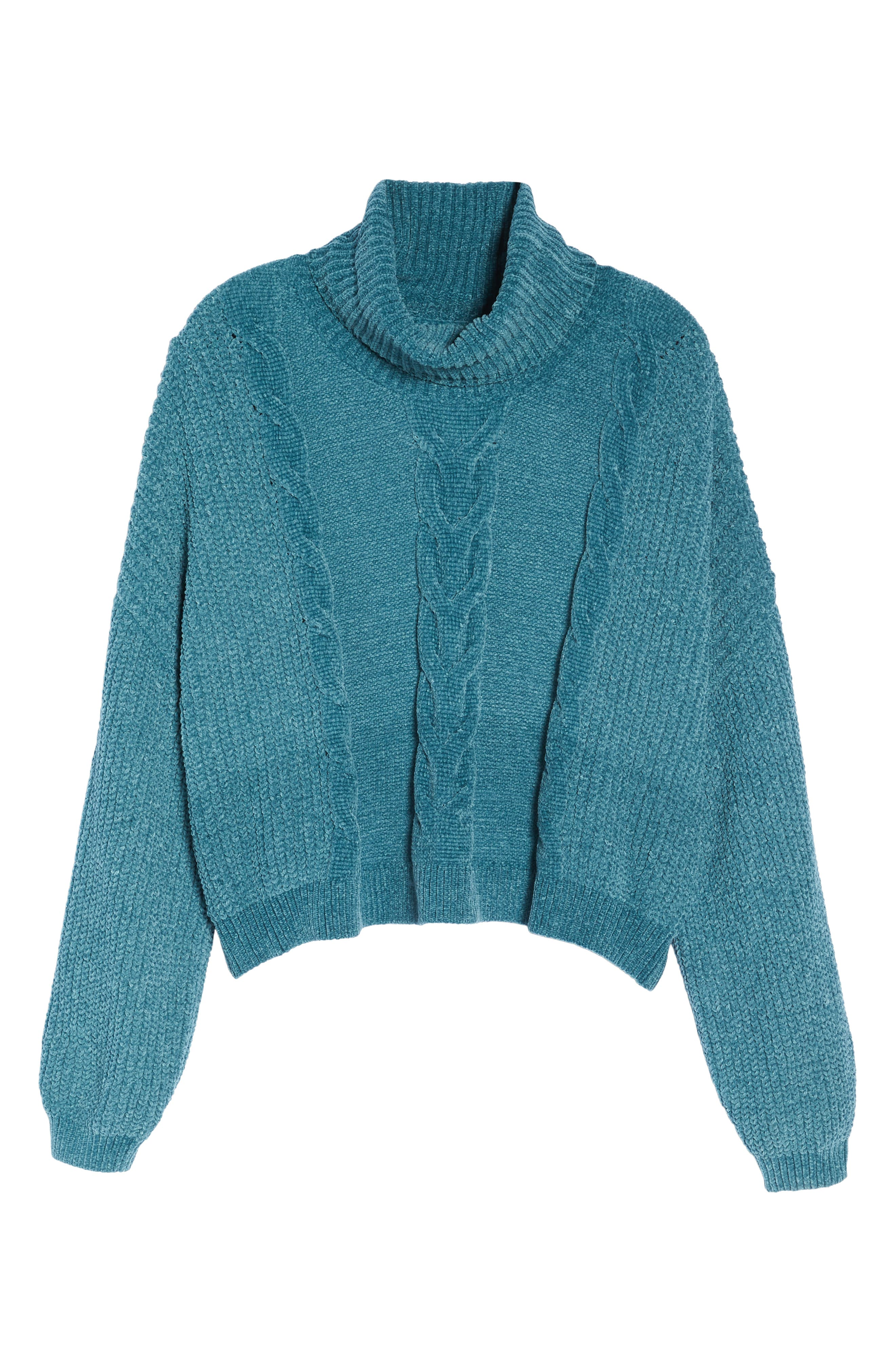 Cable Knit Chenille Sweater,                             Alternate thumbnail 6, color,                             TEAL HYDRO