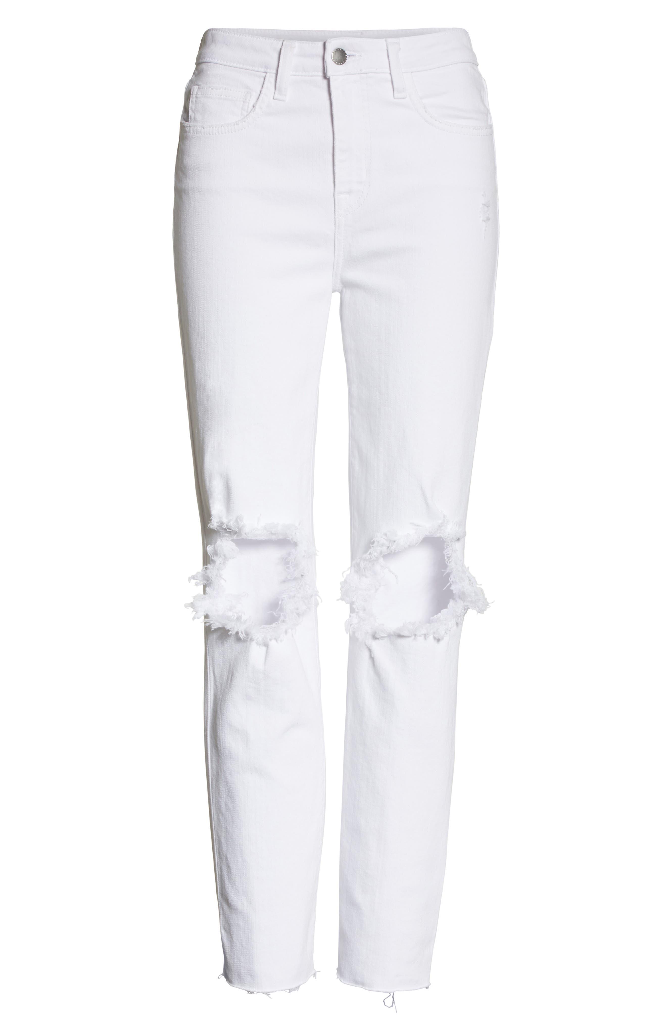 Audrina Ripped Straight Leg Crop Jeans,                             Alternate thumbnail 6, color,                             101