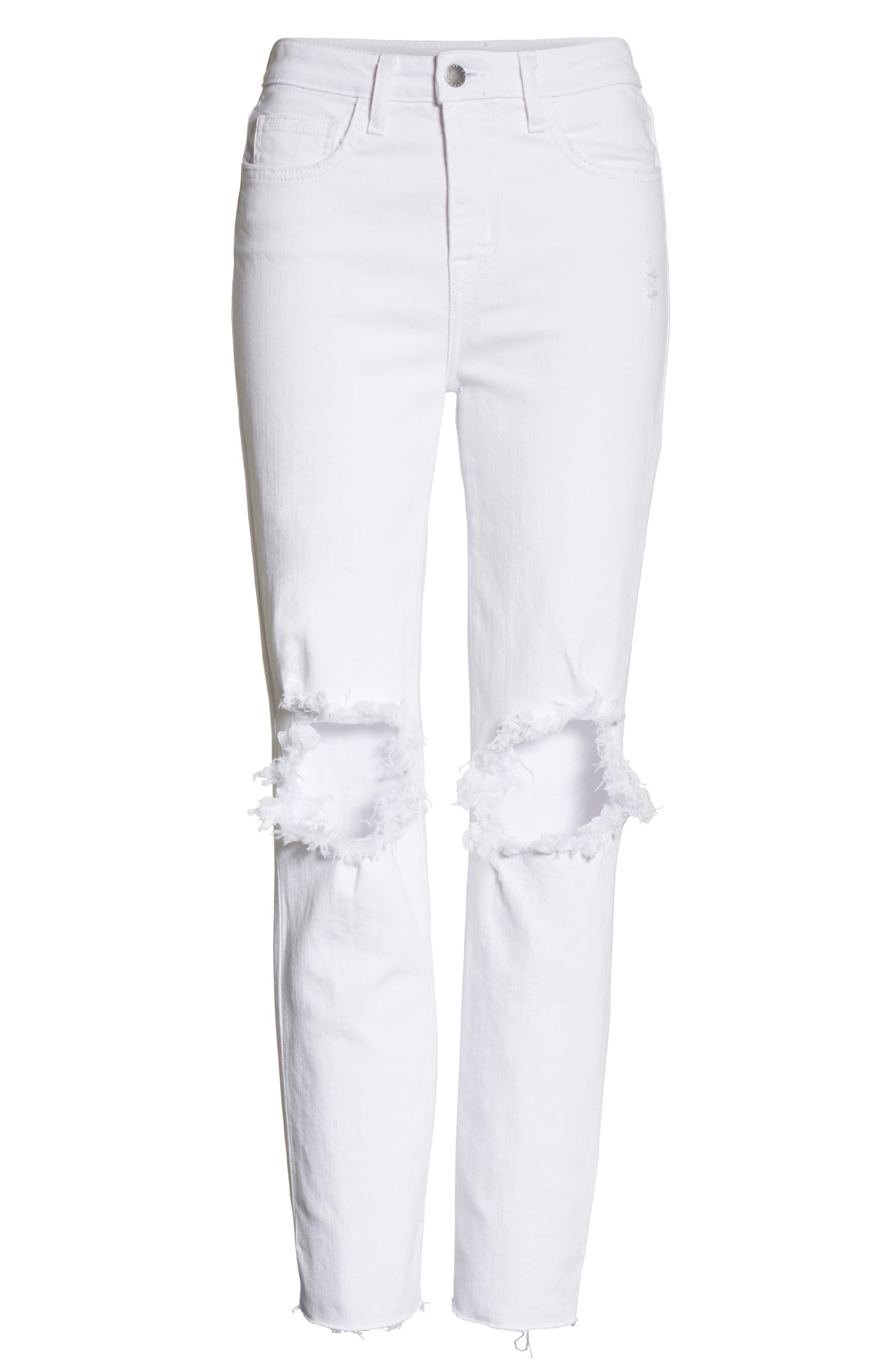 Audrina Ripped Straight Leg Crop Jeans,                             Alternate thumbnail 6, color,                             BLANC WORN DESTRUCT