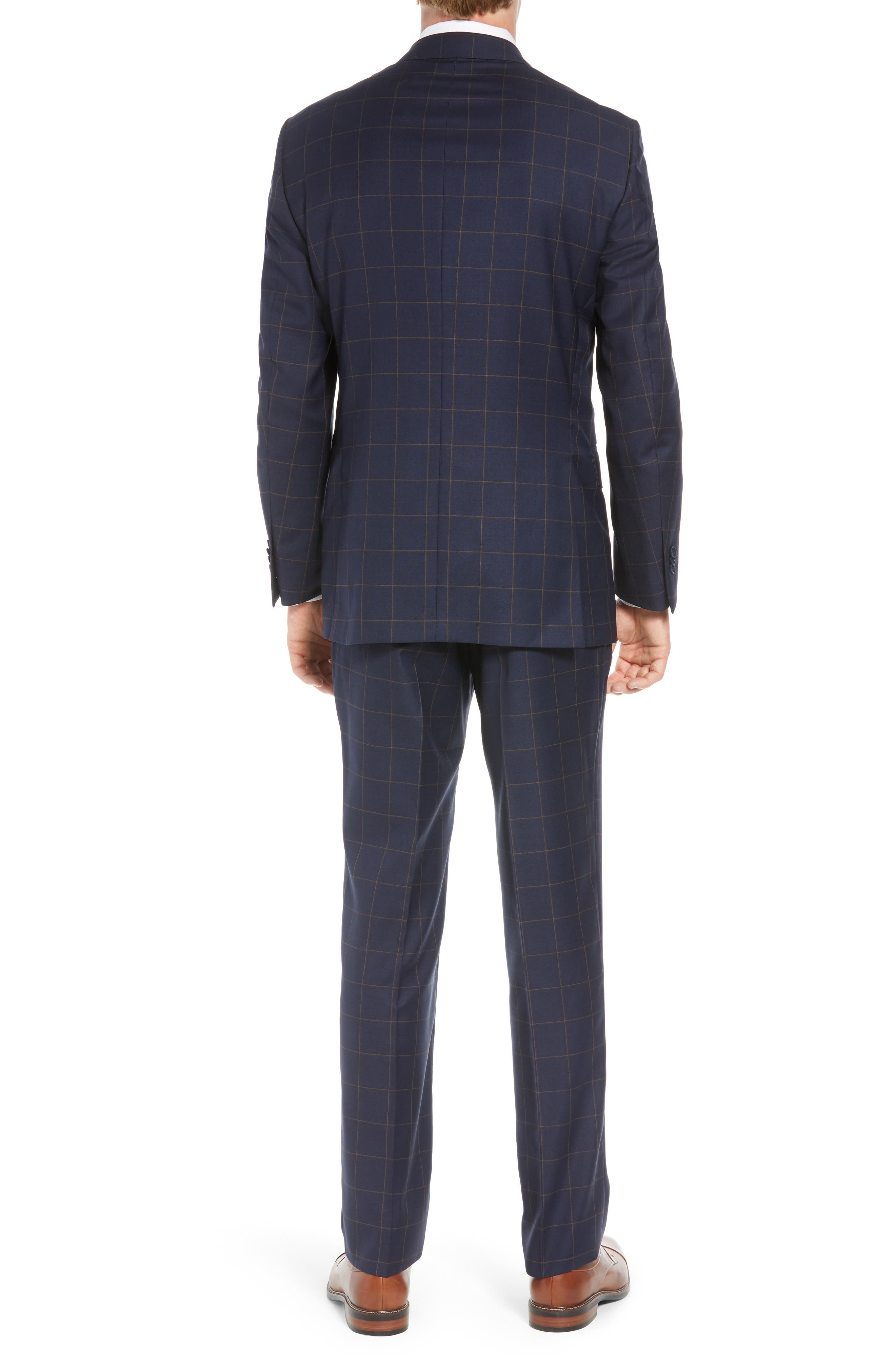 PETER MILLAR,                             Flynn Classic Fit Windowpane Wool Suit,                             Alternate thumbnail 2, color,                             NAVY