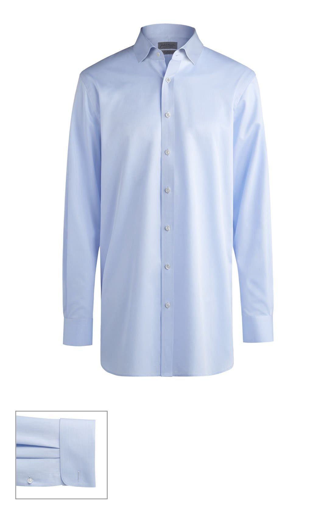 Made to Measure Extra Trim Fit Short Spread Collar Solid Dress Shirt,                         Main,                         color, BLUE TWILL