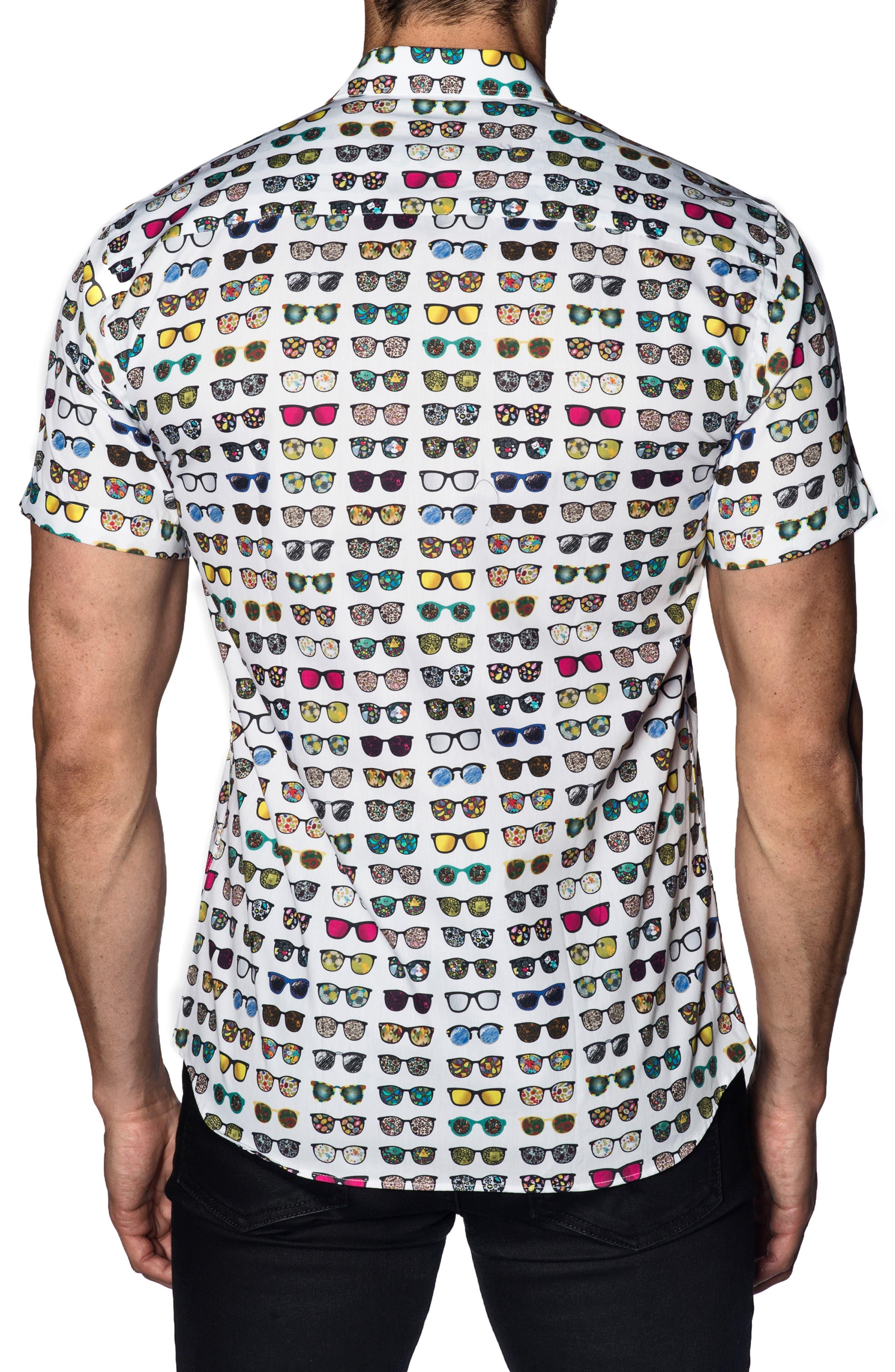 Sunglasses Print Sport Shirt,                             Alternate thumbnail 2, color,                             WHITE MULTI SUNGLASSES