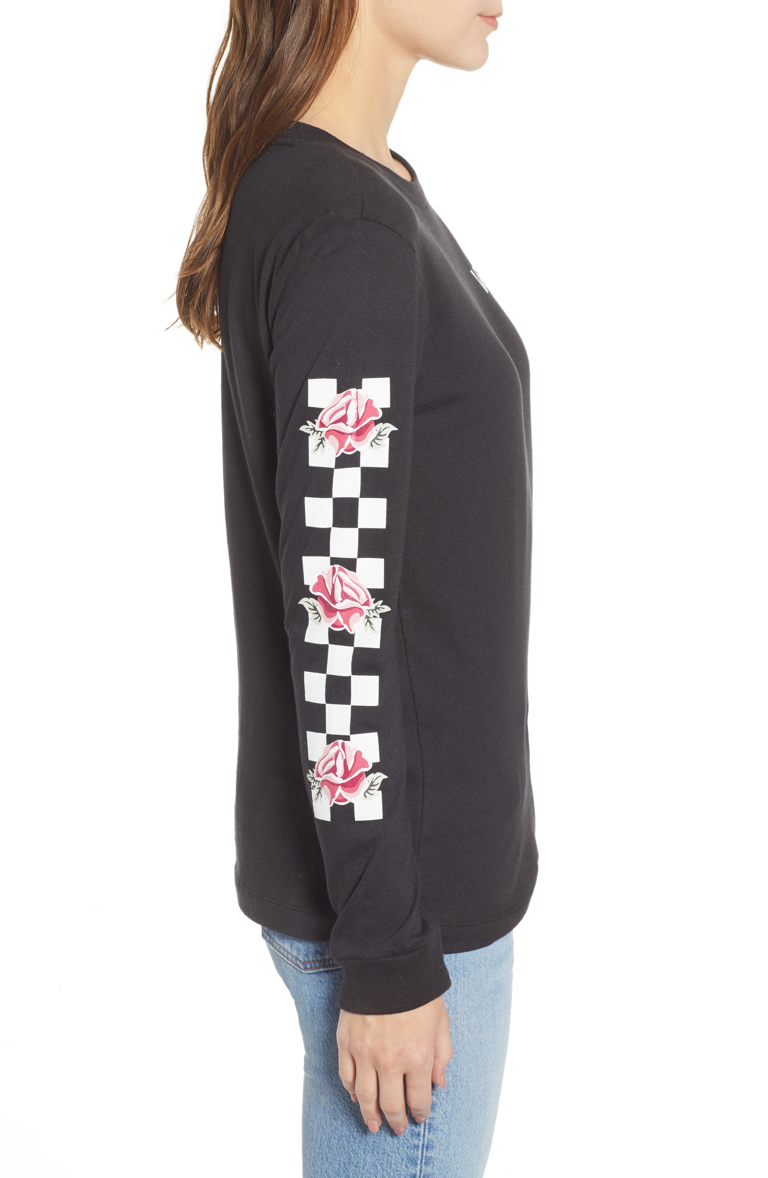 Floral Checkerboard Print Tee,                             Alternate thumbnail 3, color,                             001