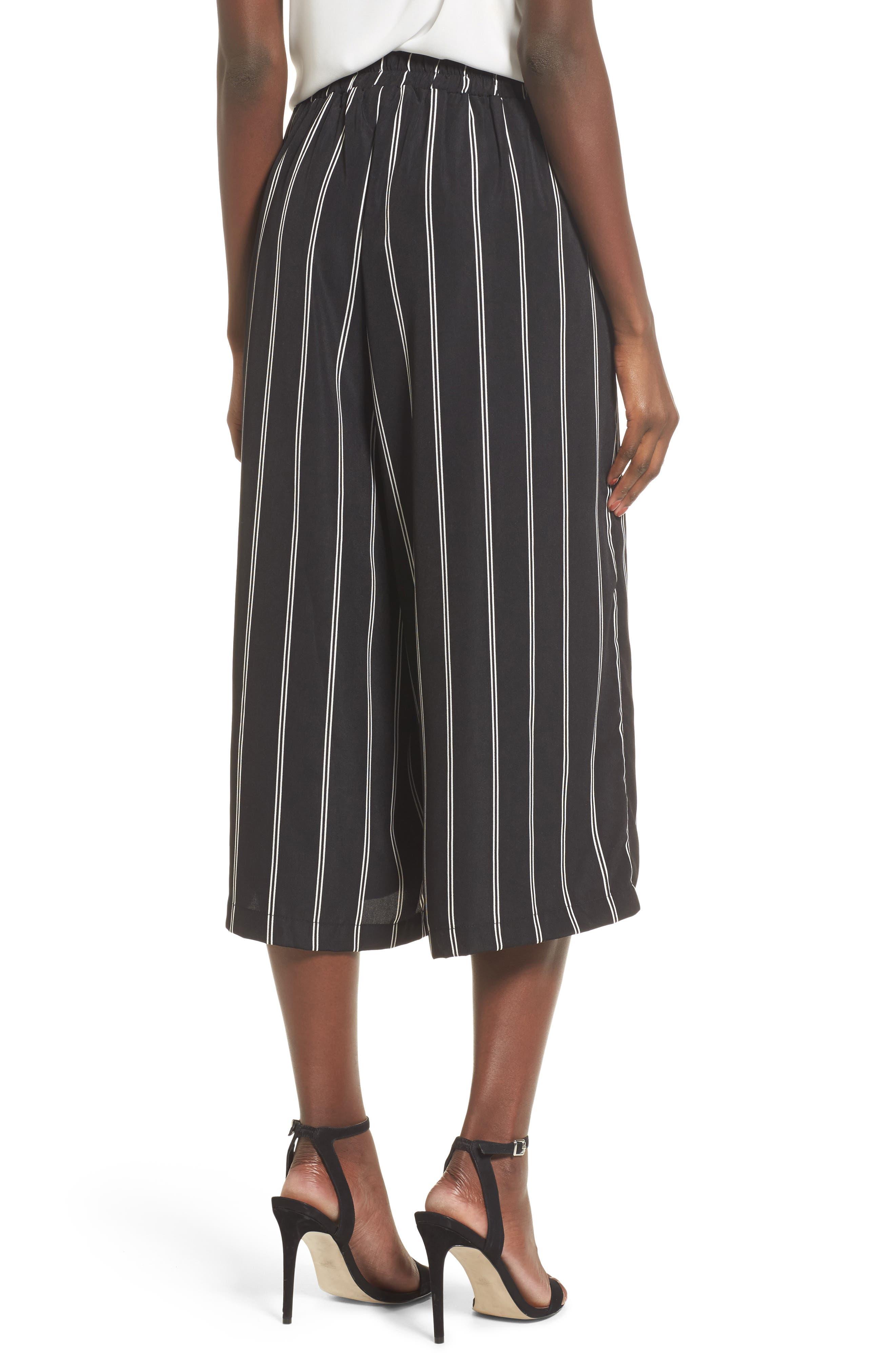 Stripe Tie Front Crop Pants,                             Alternate thumbnail 2, color,                             001