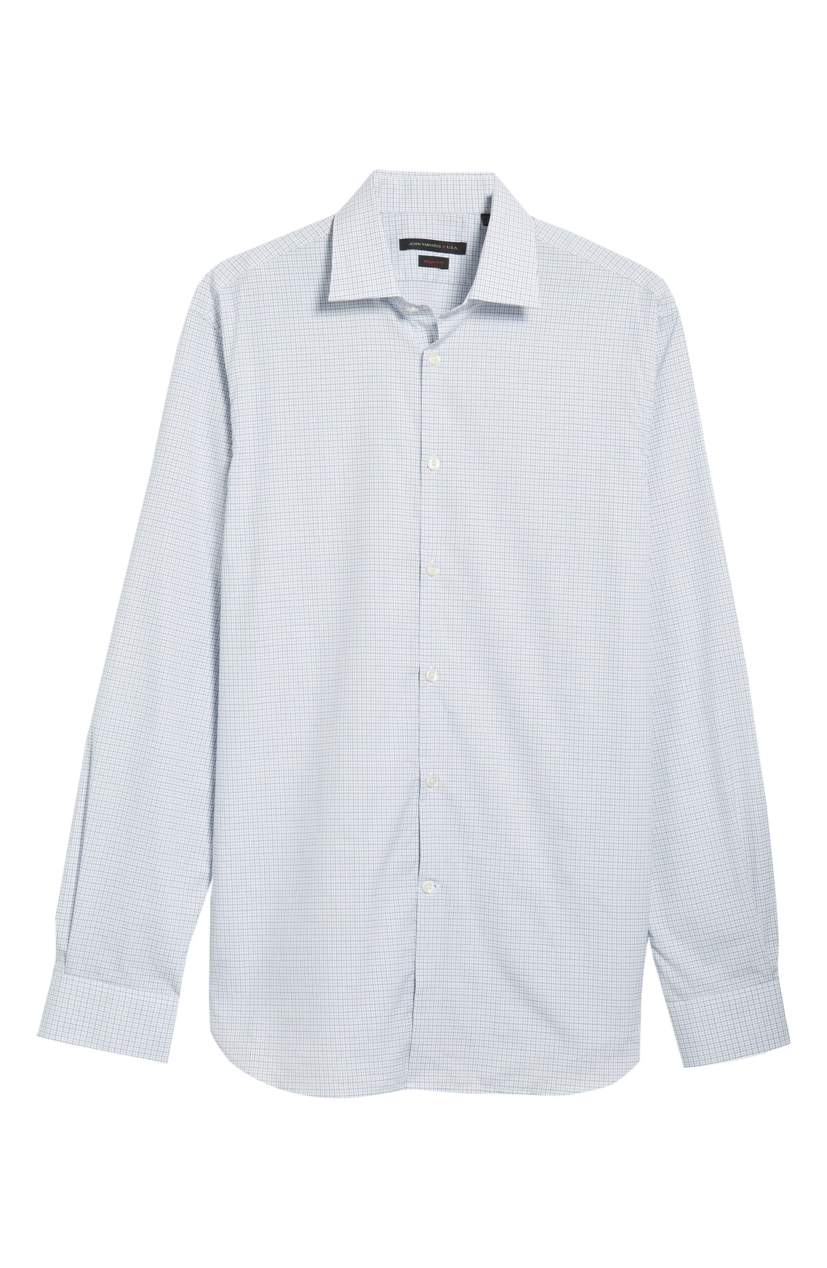 JOHN VARVATOS STAR USA,                             Micro Plaid Regular Fit Dress Shirt,                             Alternate thumbnail 5, color,                             428