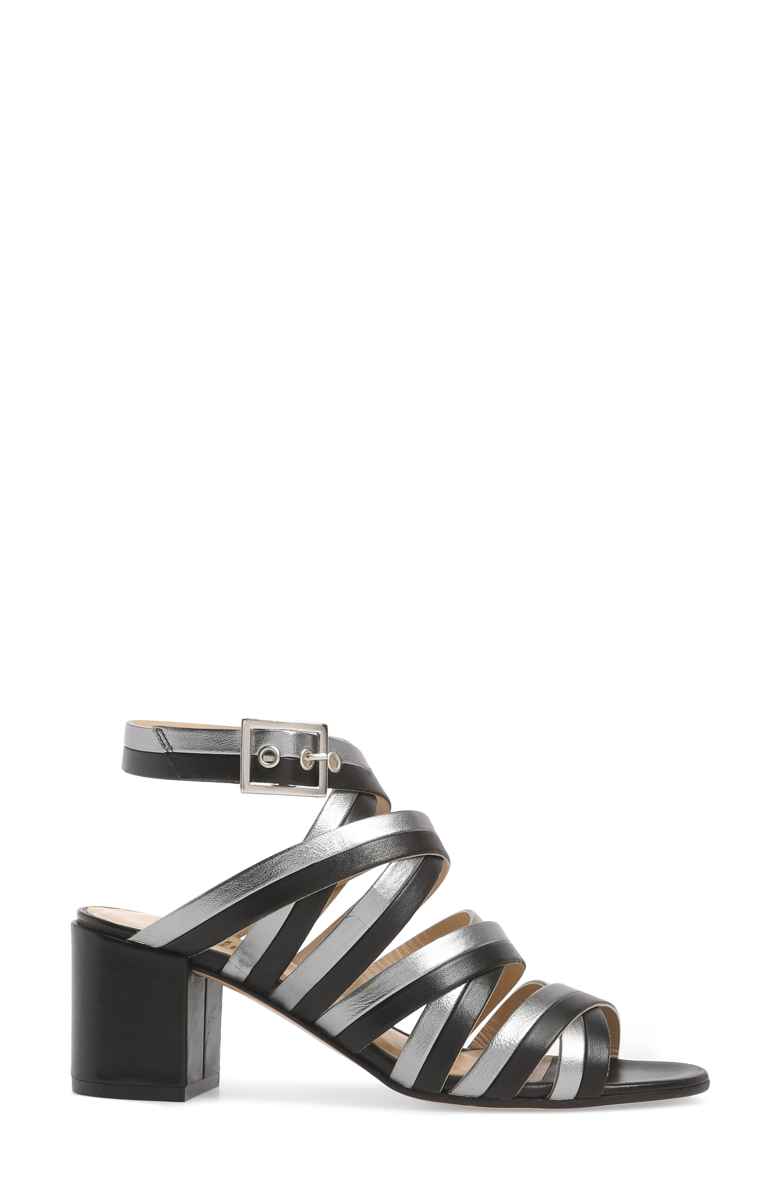 Leda Strappy Sandal,                             Alternate thumbnail 3, color,                             BLACK LEATHER
